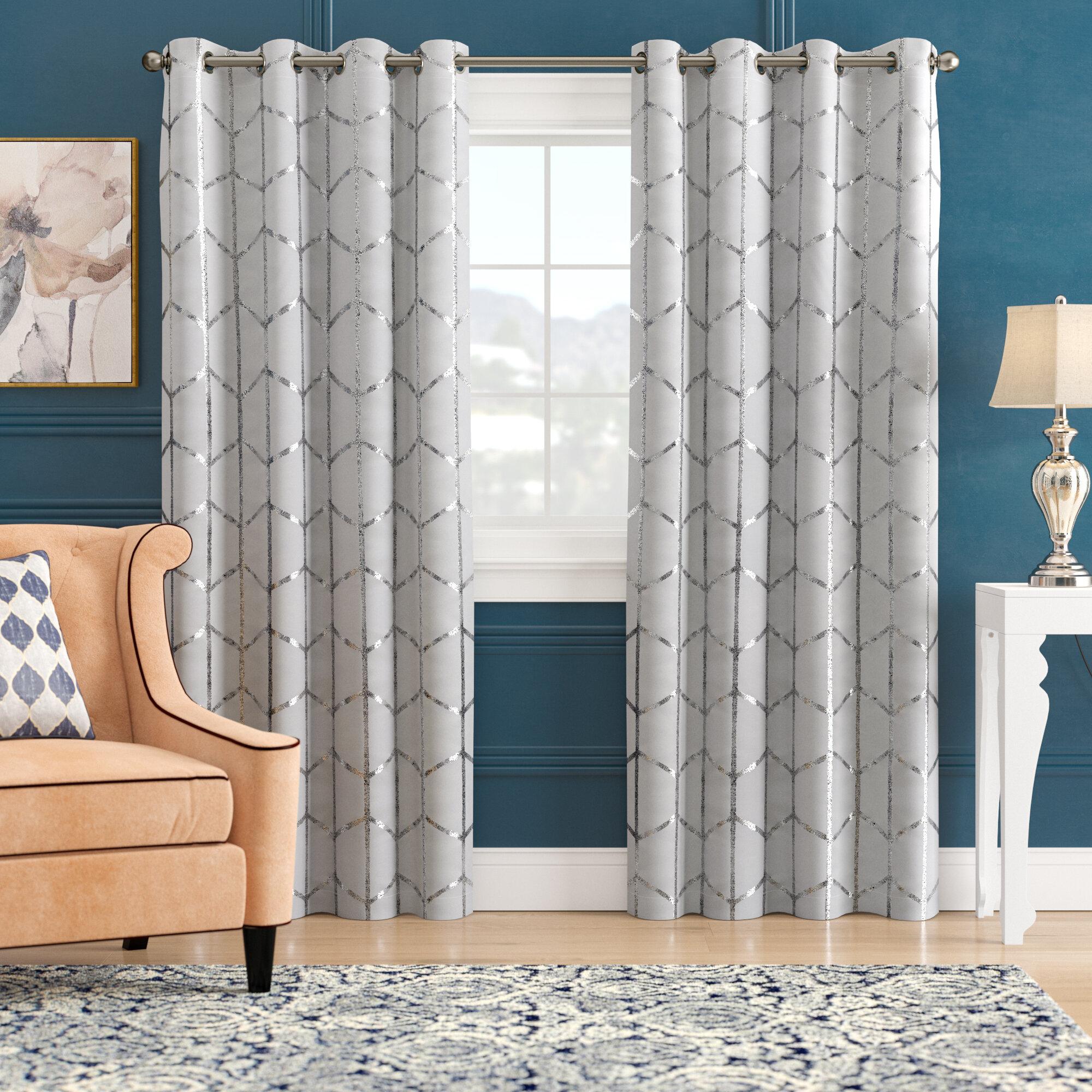 Mangesh Geometric Max Blackout Grommet Single Curtain Panel Pertaining To Total Blackout Metallic Print Grommet Top Curtain Panels (View 16 of 36)