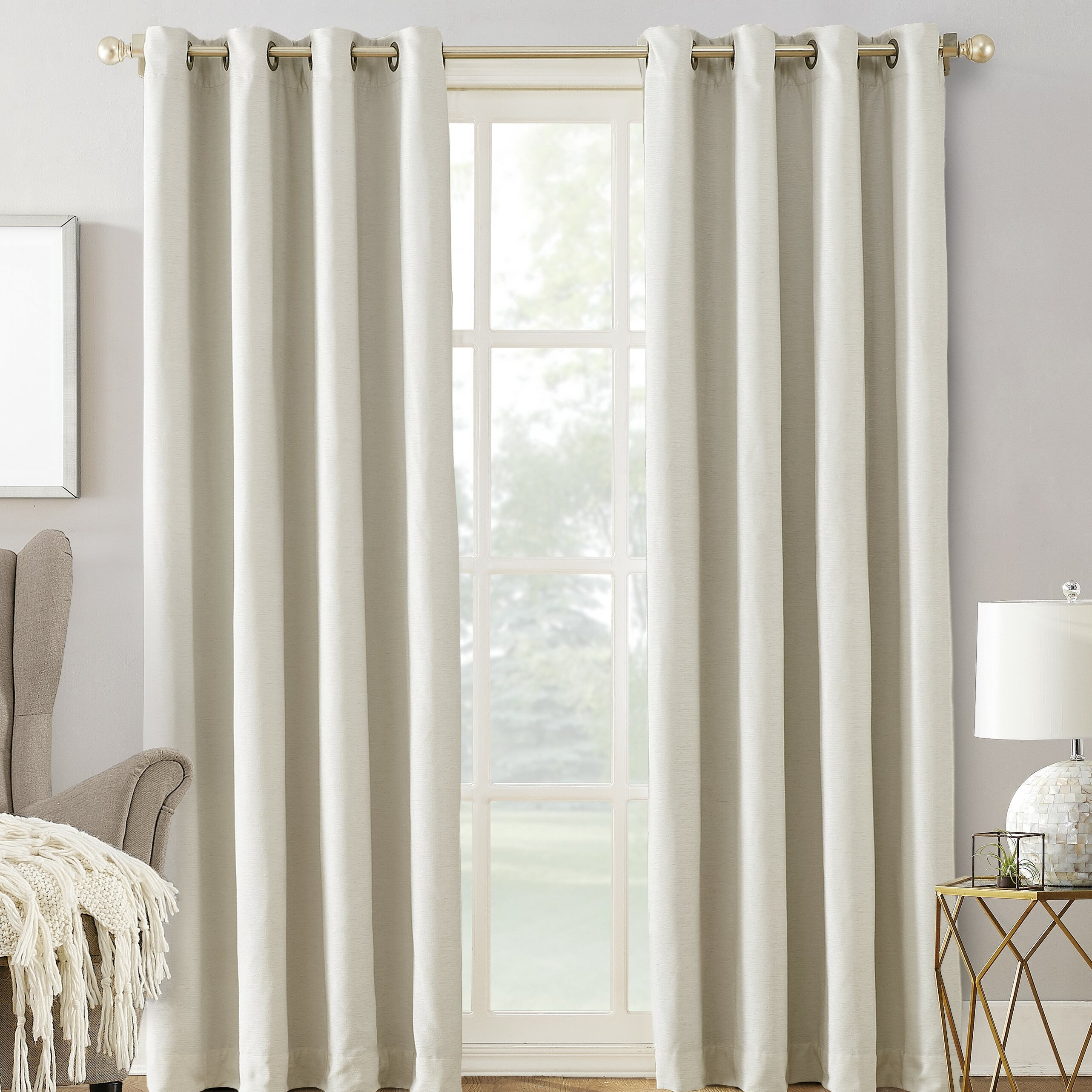Manor Chenille Velvet Thermal Max Blackout Grommet Single Curtain Panel inside Ultimate Blackout Short Length Grommet Panels (Image 17 of 30)