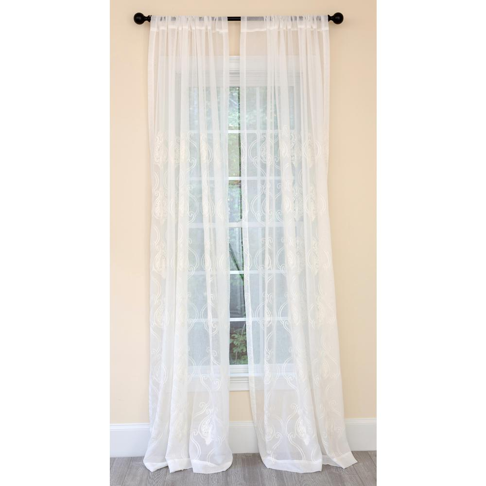 Manor Luxe Ella Embroidered Sheer Single Rod Pocket Curtain Panel In White – 52 In. X 84 In (View 8 of 20)