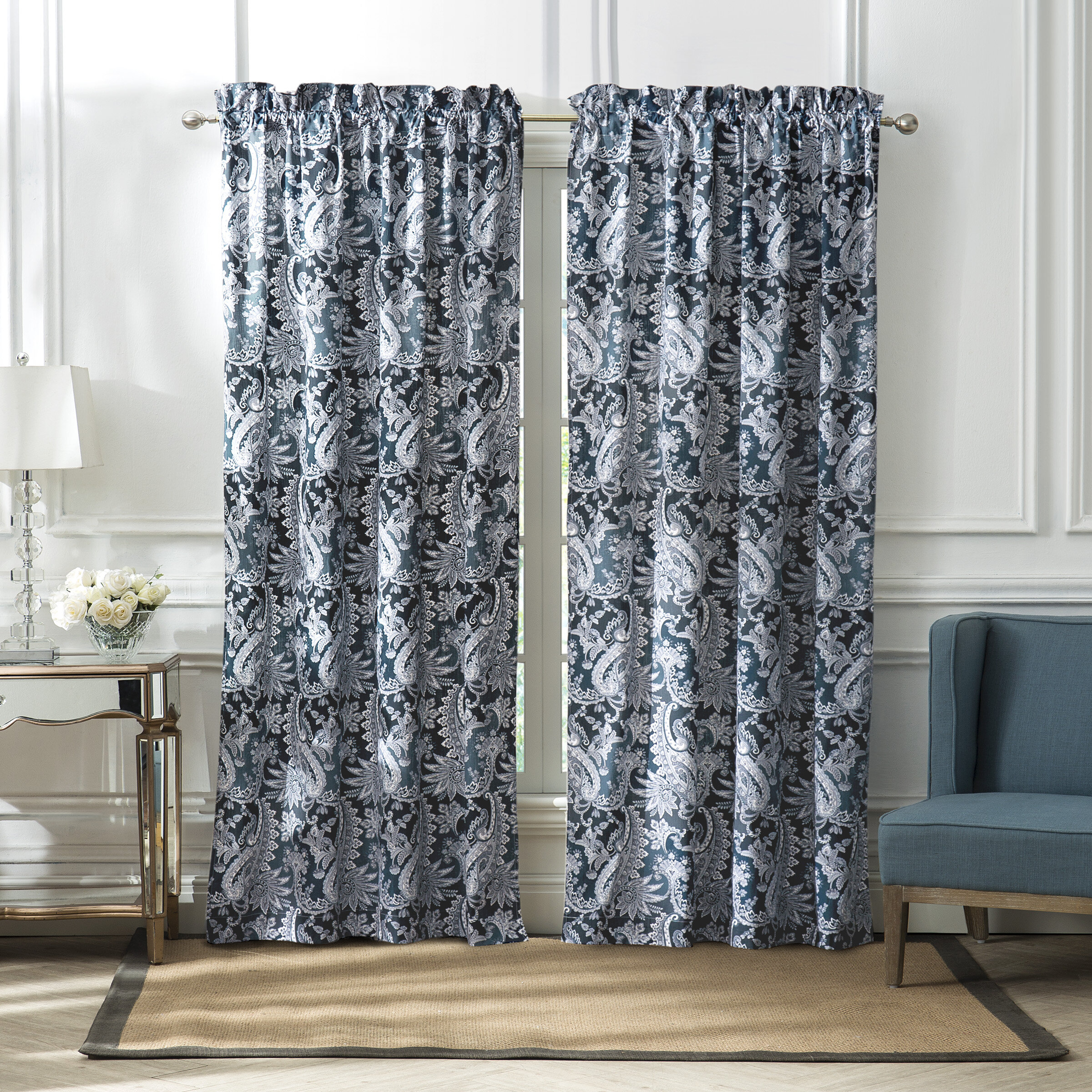 Marquiswaterford Sawyer Floral Blackout Rod Pocket Regarding Thermaback Blackout Window Curtains (View 14 of 30)