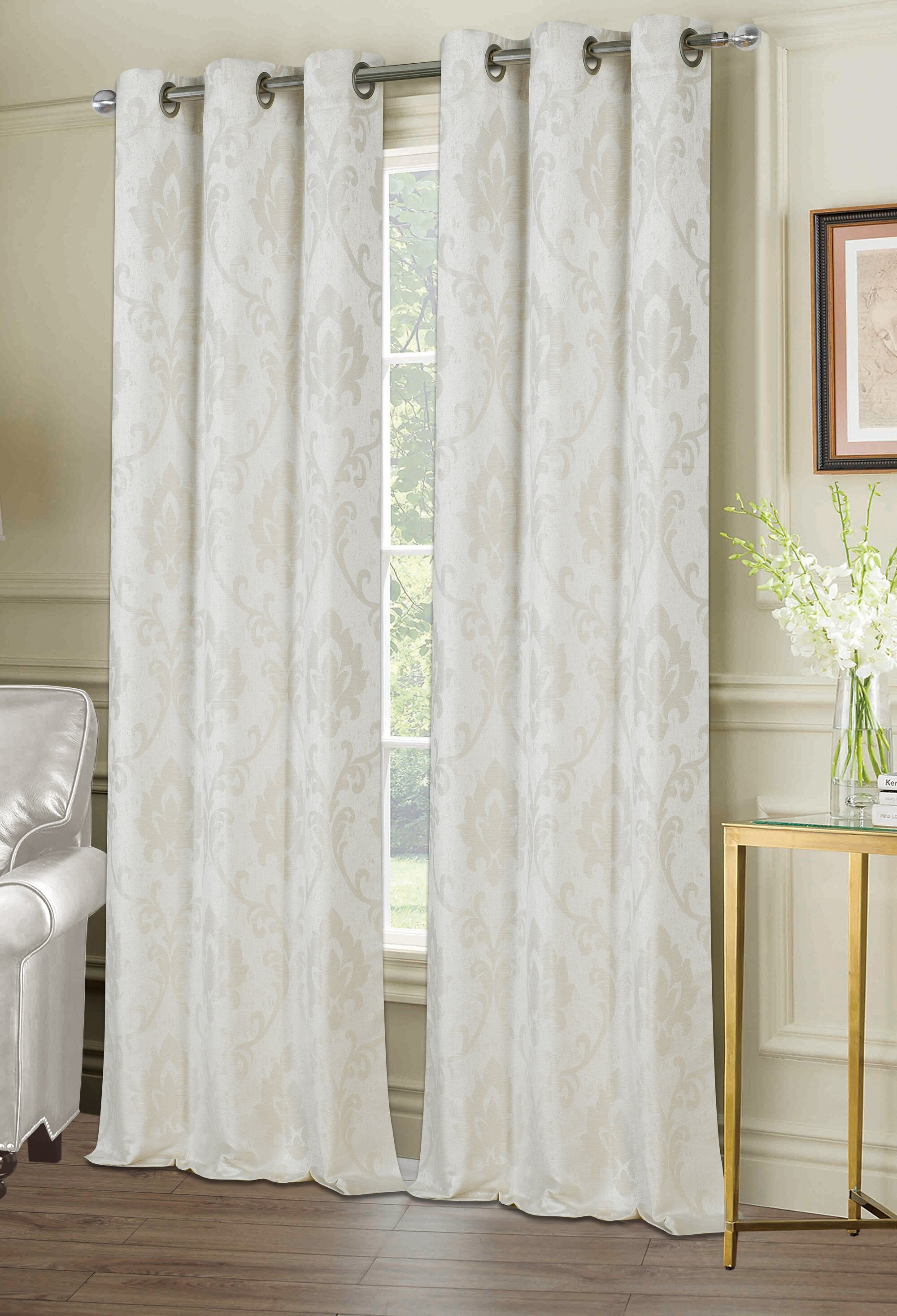Maryville Window Damask Room Darkening Grommet Curtain Panels With Regard To Andorra Watercolor Floral Textured Sheer Single Curtain Panels (Image 6 of 20)