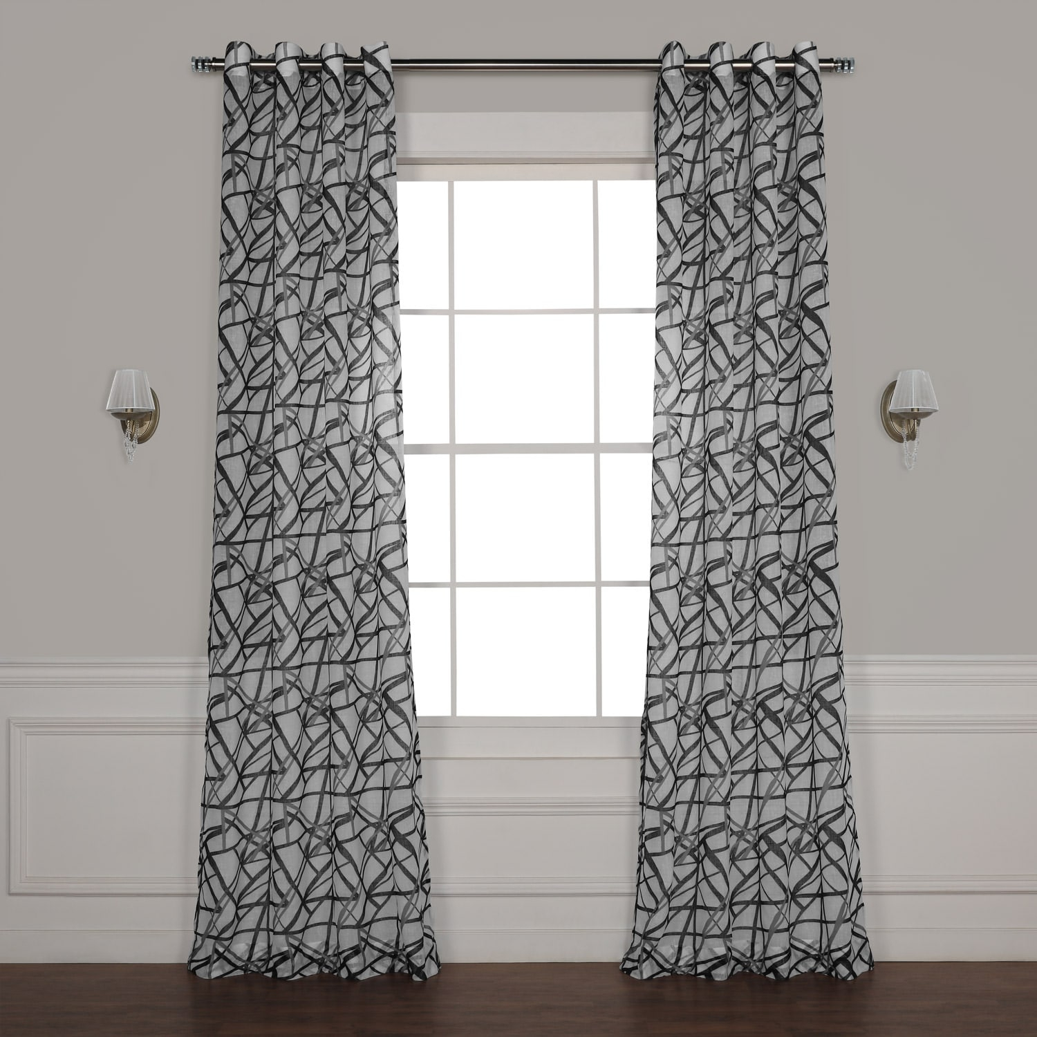 Matrix Black Grommet Printed Sheer Curtain With Signature White Double Layer Sheer Curtain Panels (View 18 of 30)