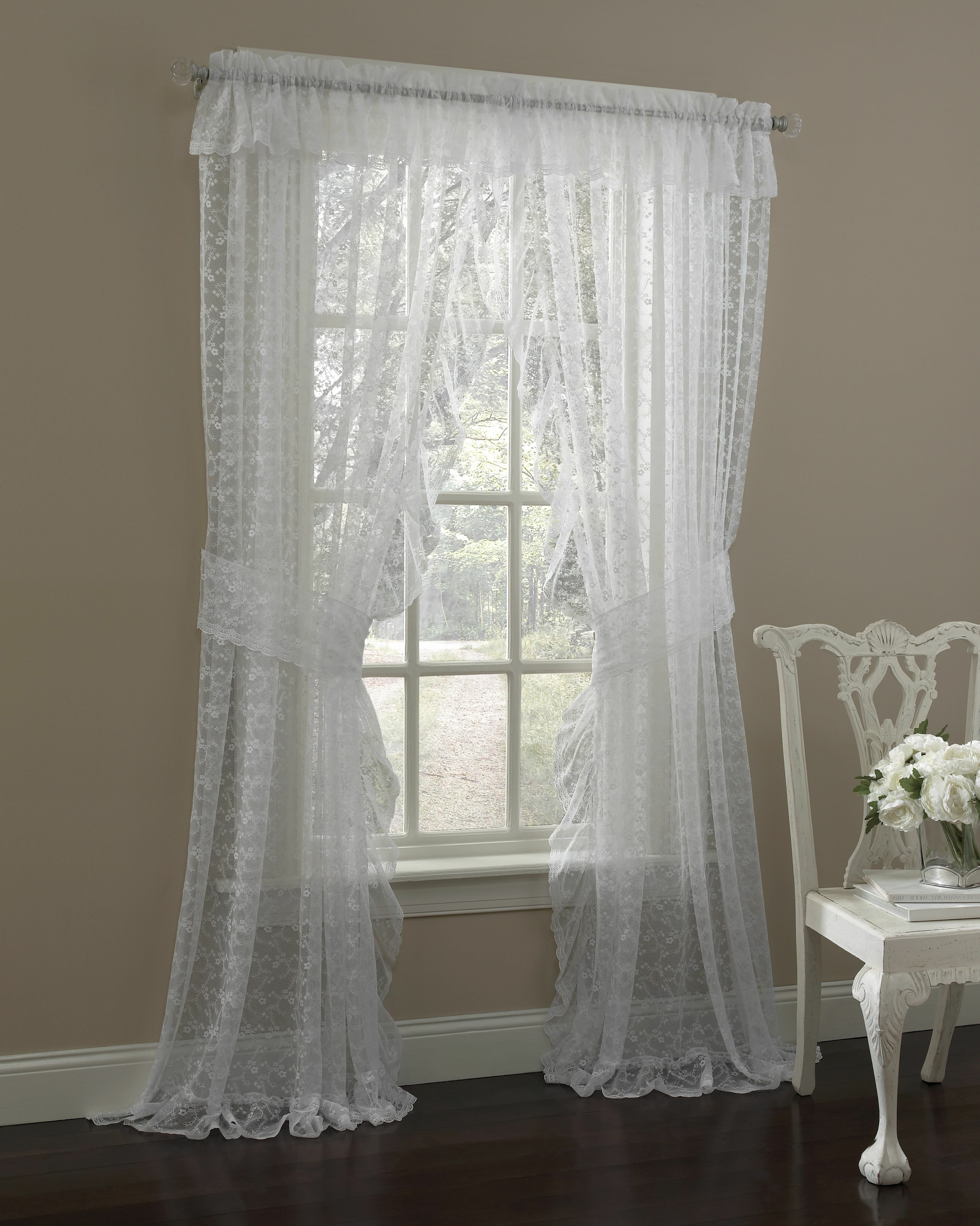 Maximo Traditional Elegance Floral Semi Sheer Curtain Panels In Elegant Comfort Window Sheer Curtain Panel Pairs (View 6 of 20)
