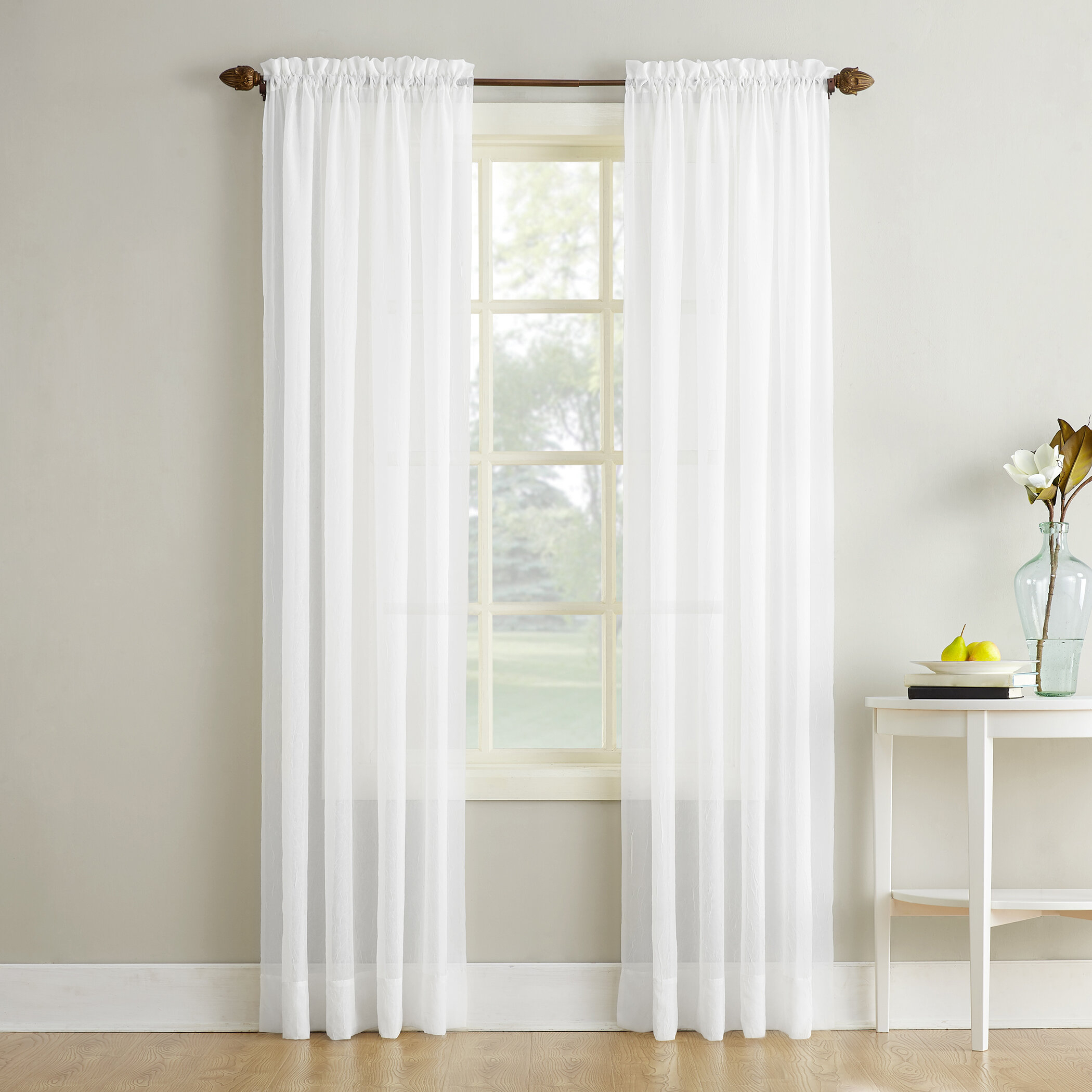 Maxon Crushed Voile Solid Sheer Rod Pocket Single Curtain Panel With Regard To Emily Sheer Voile Solid Single Patio Door Curtain Panels (View 9 of 20)