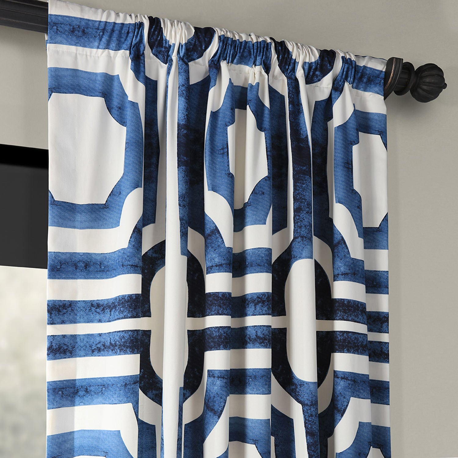 Mecca Blue Printed Cotton Curtain Inside Mecca Printed Cotton Single Curtain Panels (View 18 of 20)