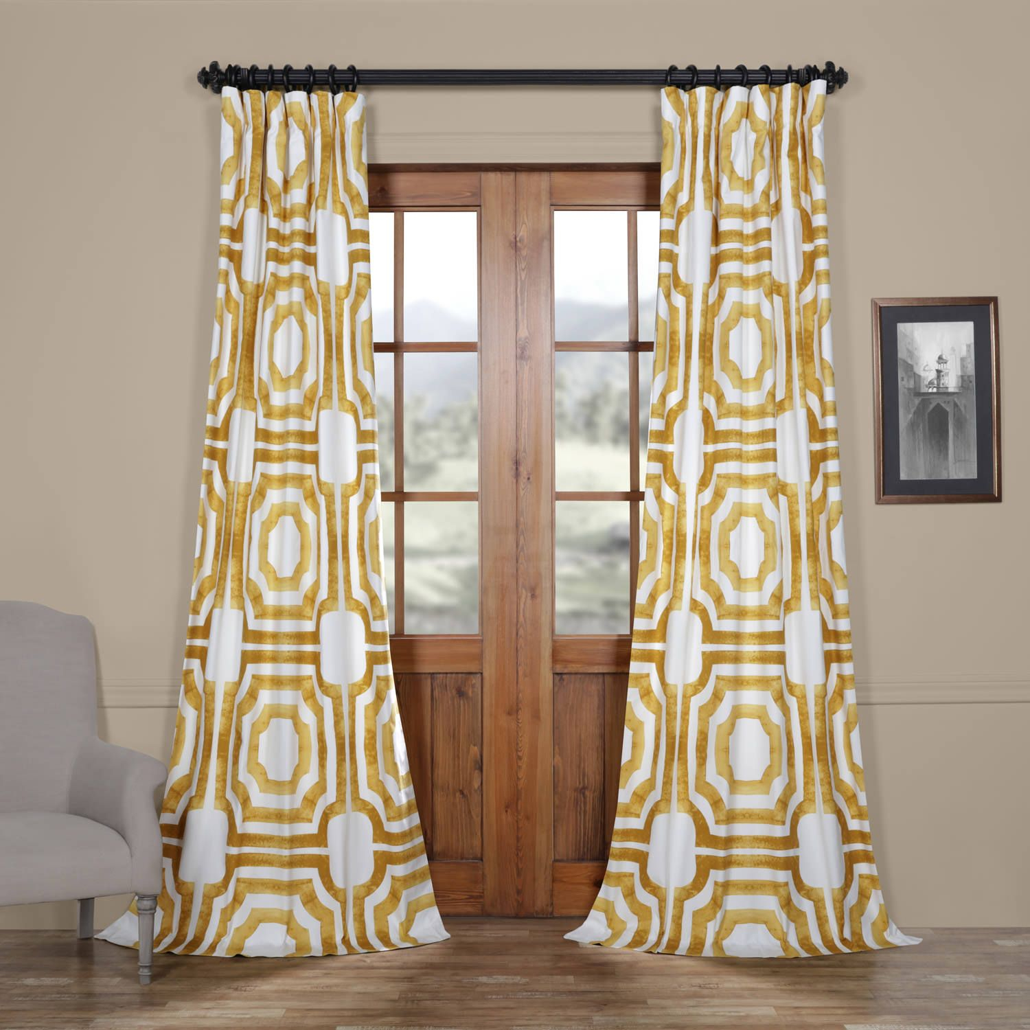 Mecca Gold Printed Cotton Curtain | Printed Cotton Throughout Mecca Printed Cotton Single Curtain Panels (View 8 of 20)