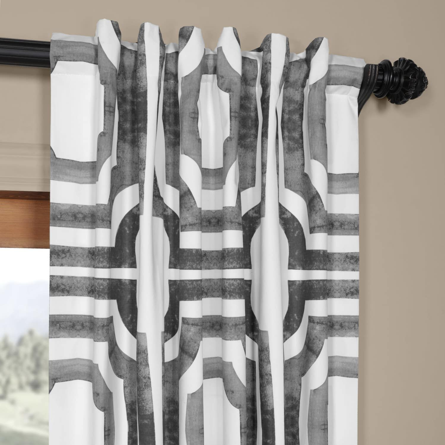Mecca Steel Printed Cotton Curtain | New Home In 2019 Intended For Mecca Printed Cotton Single Curtain Panels (View 13 of 20)