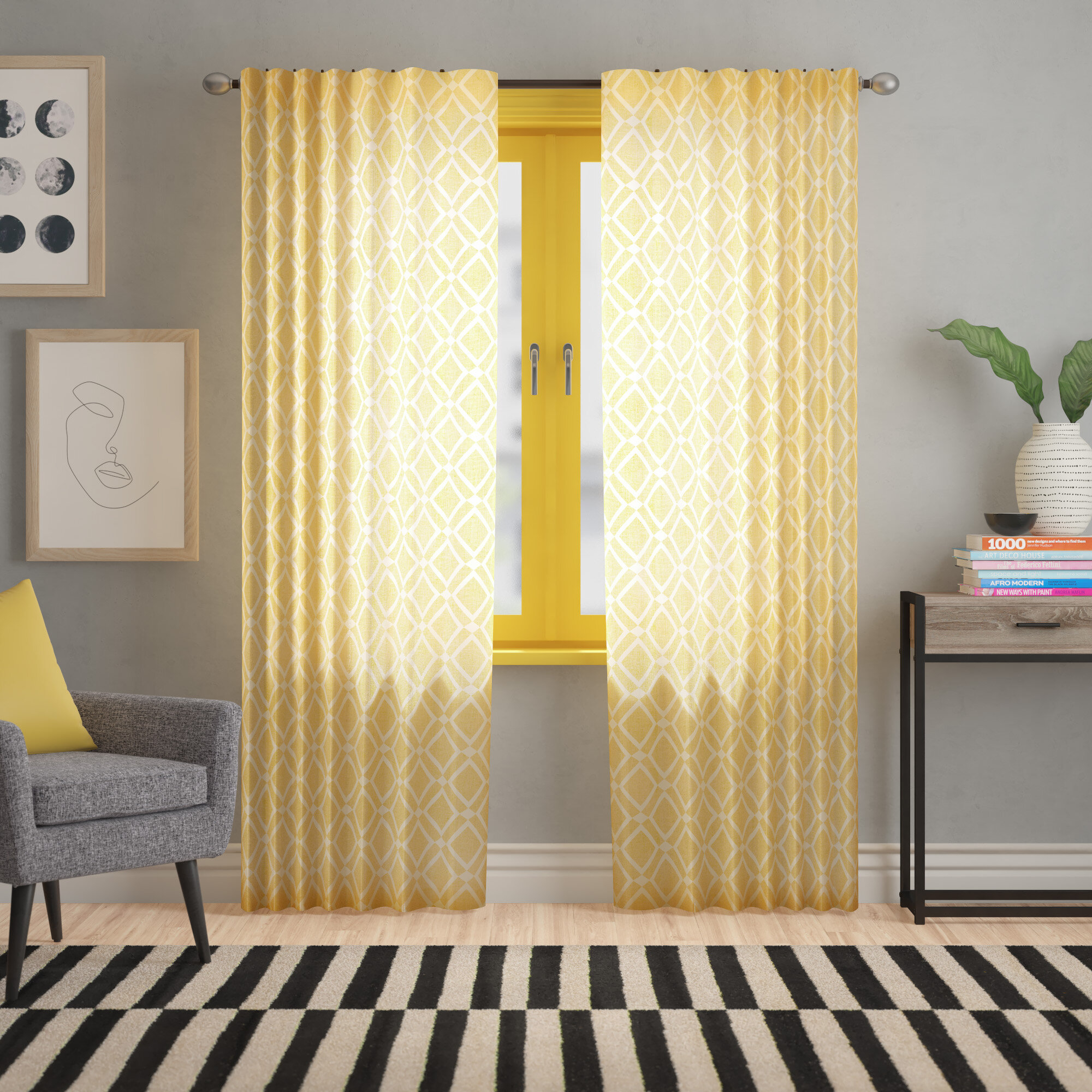 Meka Geometric Semi Sheer Rod Pocket Single Curtain For Jacob Tab Top Single Curtain Panels (View 19 of 20)