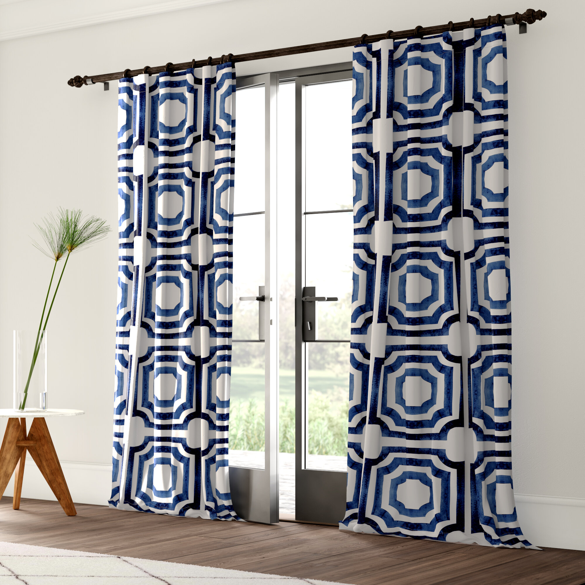 Mercury Row Donato Geometric Room Darkening Rod Pocket Pertaining To Mecca Printed Cotton Single Curtain Panels (View 7 of 20)