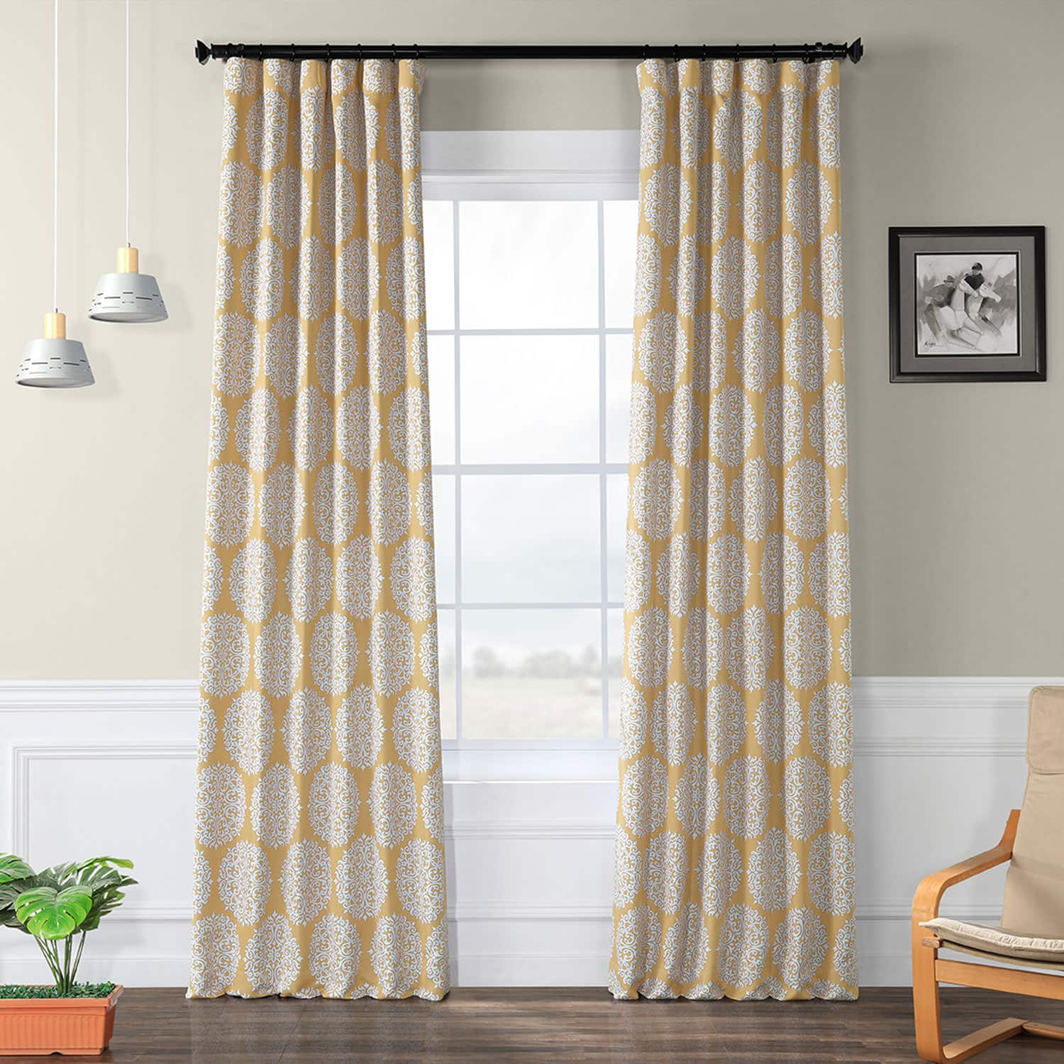 Meridian Gold Blackout Curtain With Regard To Meridian Blackout Window Curtain Panels (View 17 of 20)