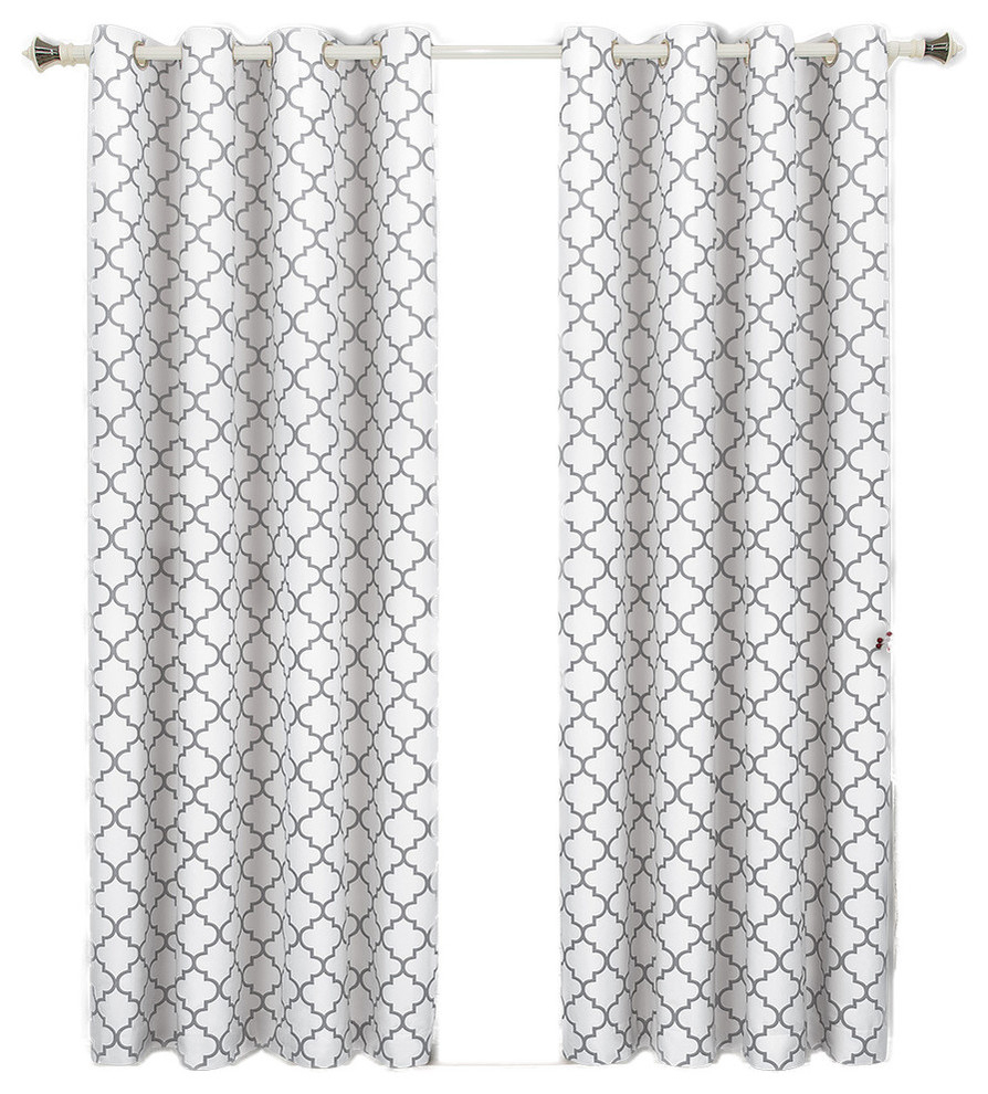 "Meridian Room Darkening Thermal Grommet Panels, Set Of 2, White, 104""x84"" With Regard To Edward Moroccan Pattern Room Darkening Curtain Panel Pairs (View 18 of 20)"