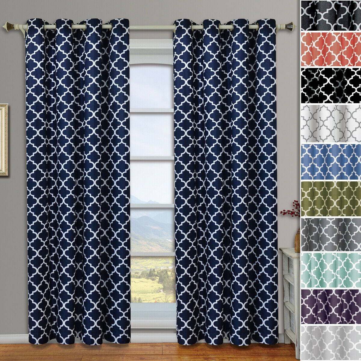 Meridian Thermal Room Darkening Grommet Window Geometric Curtain 2 Panels Set Intended For Geometric Print Textured Thermal Insulated Grommet Curtain Panels (View 16 of 20)