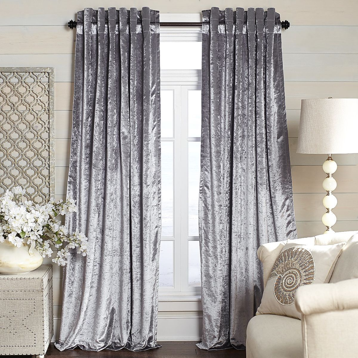 Metallic Velvet Curtain – Silver | Pier 1 Imports Intended For Velvet Dream Silver Curtain Panel Pairs (View 4 of 31)