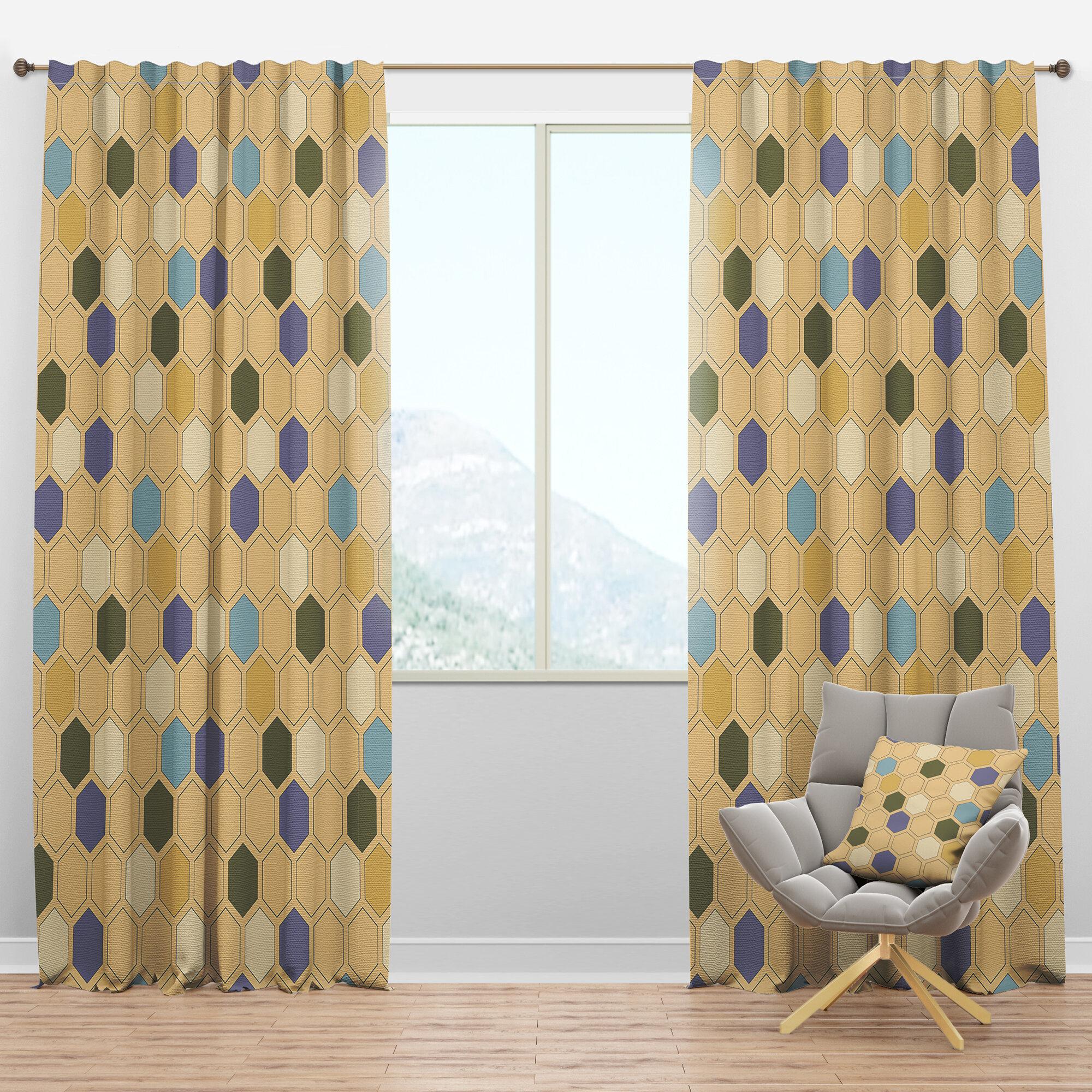 Mid-Century Hexagon Geometric Semi-Sheer Thermal Rod Pocket Curtain Panels for Mid Century Geo Room Darkening Window Curtain Panel Pairs (Image 19 of 20)
