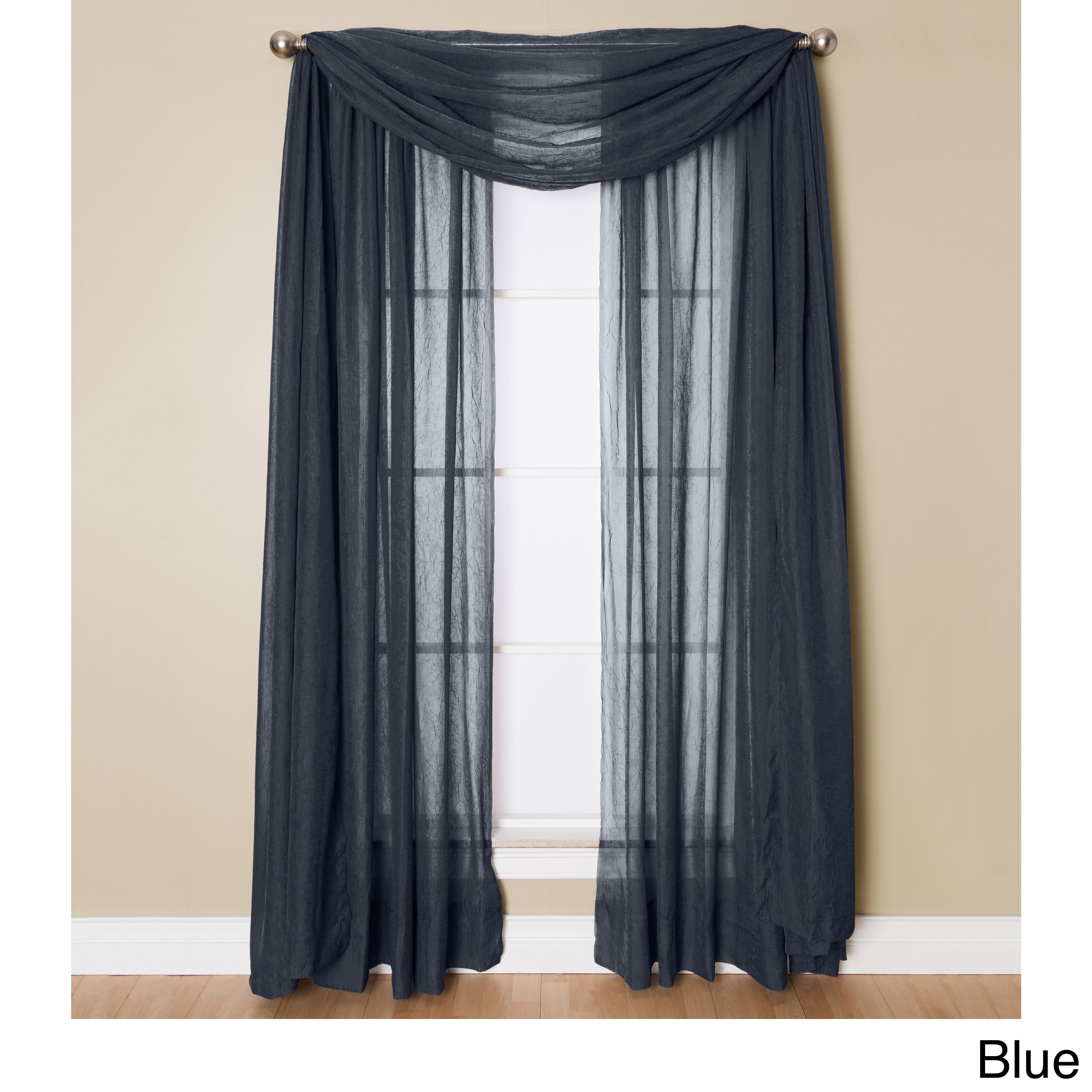 Miller Curtains Preston 216 Inch Sheer Window Scarf (48 X With Luxury Collection Monte Carlo Sheer Curtain Panel Pairs (View 17 of 20)