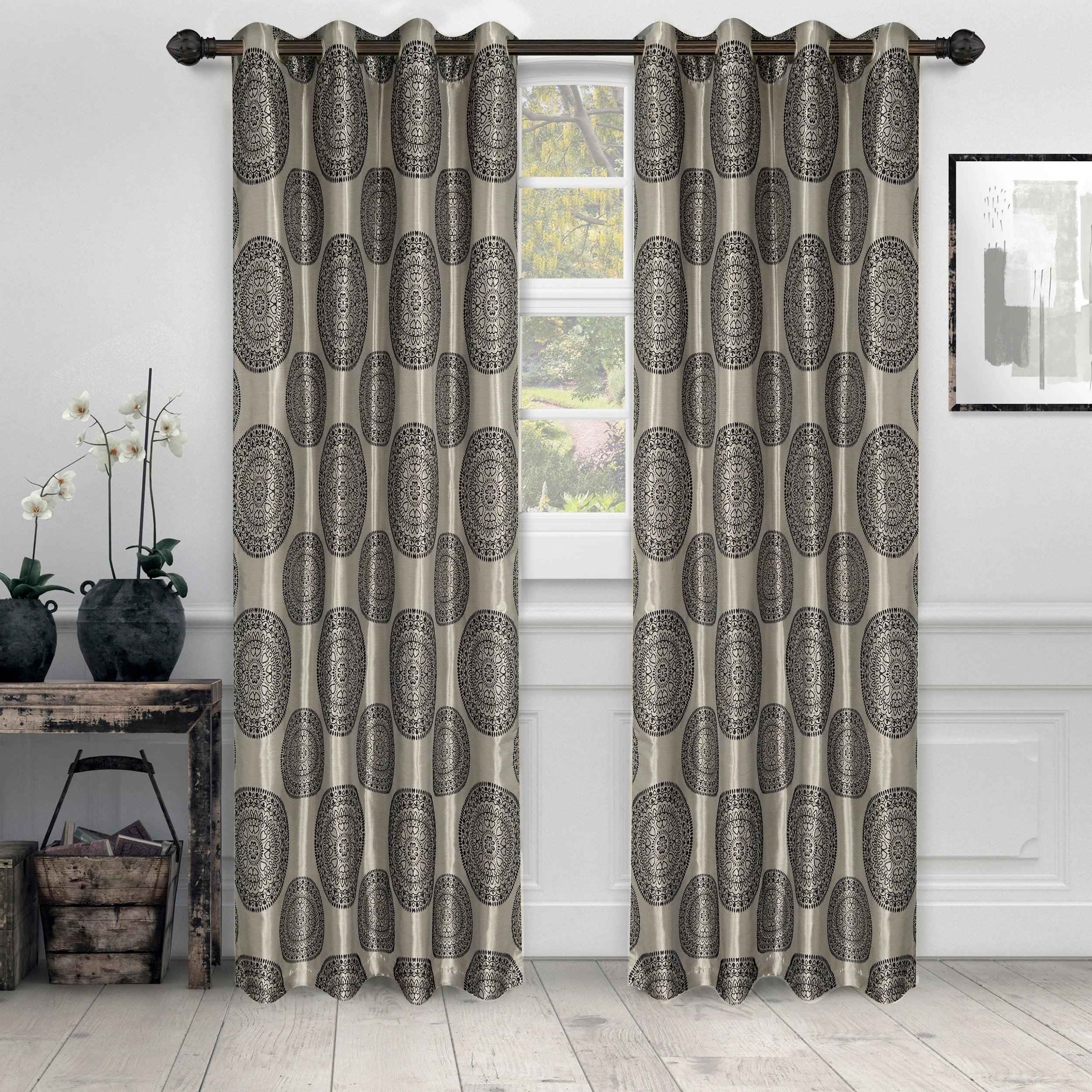 Miranda Haus Elegant Marmore Jacquard Grommet Curtain Panel (set Of 2) With Miranda Haus Labrea Damask Jacquard Grommet Curtain Panels (View 15 of 20)