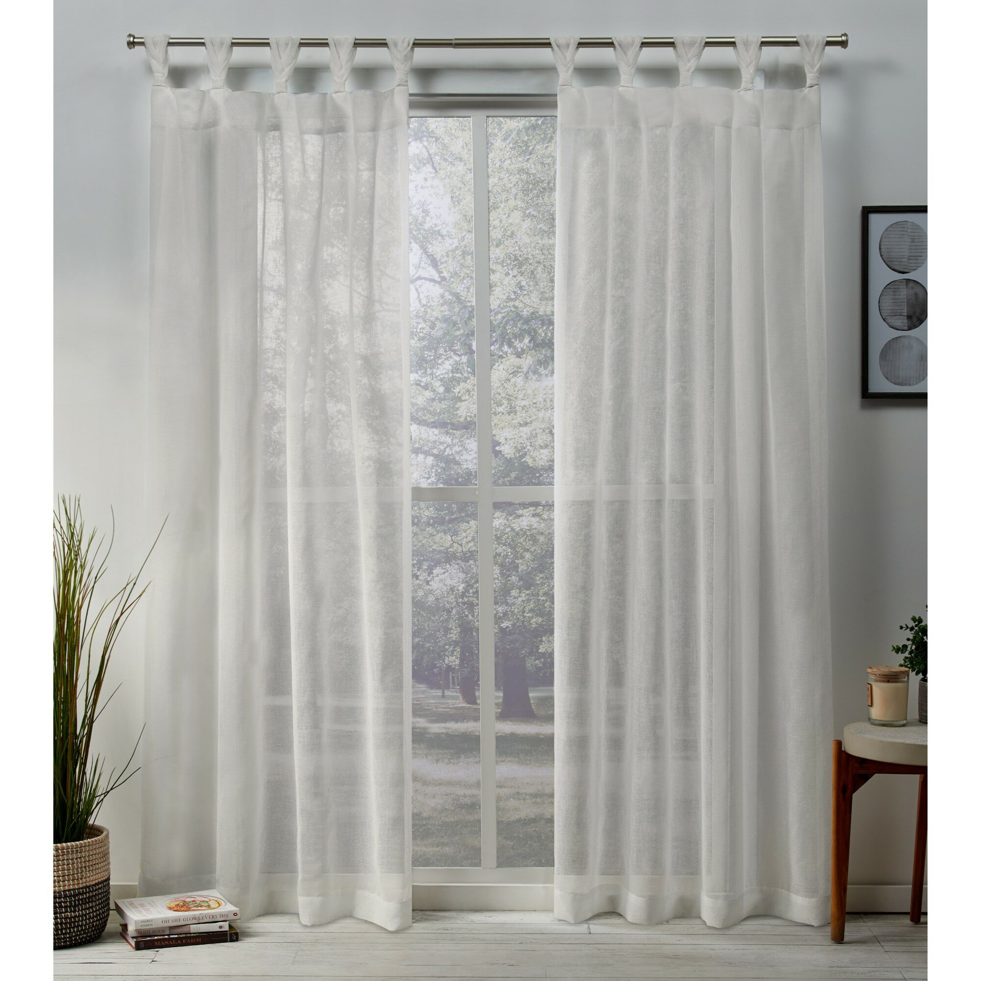 Mirfield Braided Solid Color Sheer Tab Top Curtain Panels Within Knotted Tab Top Window Curtain Panel Pairs (View 15 of 20)