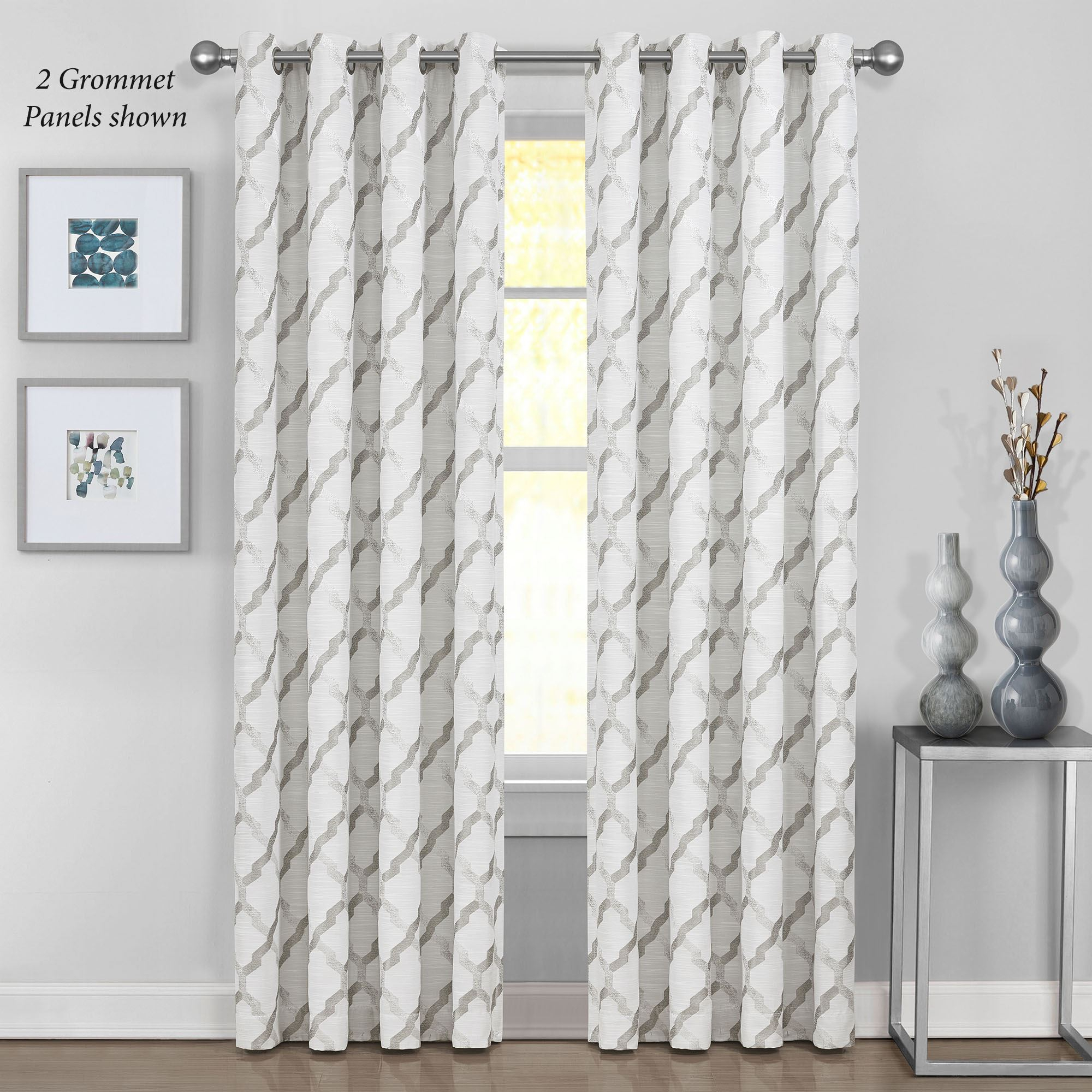 Modena Geometric Lattice Lined Grommet Curtain Panel Pertaining To Lined Grommet Curtain Panels (View 4 of 20)