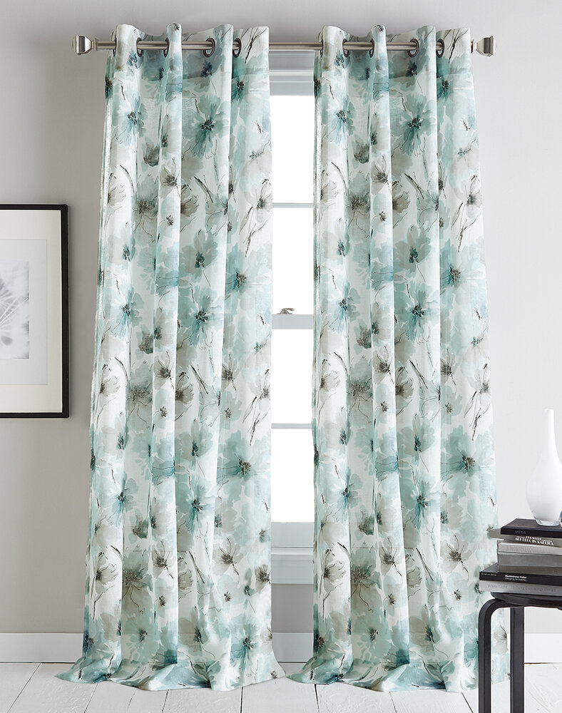 Modern Bloom Floral/flower Semi Sheer Grommet Single Curtain Panel Intended For Wavy Leaves Embroidered Sheer Extra Wide Grommet Curtain Panels (View 20 of 30)