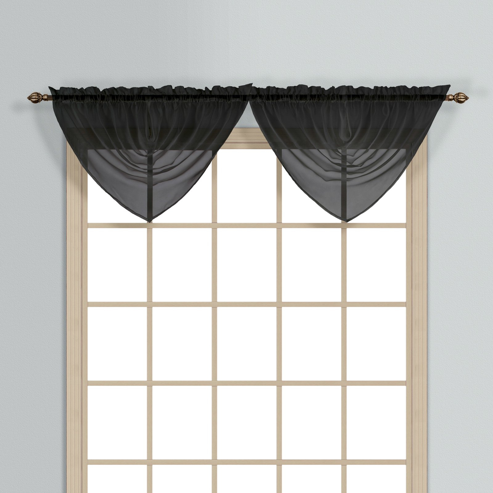 """Monte Carlo 40"""" X 22"""" Window Curtain Ascot Valance Black With Regard To Luxury Collection Monte Carlo Sheer Curtain Panel Pairs (View 8 of 20)"""