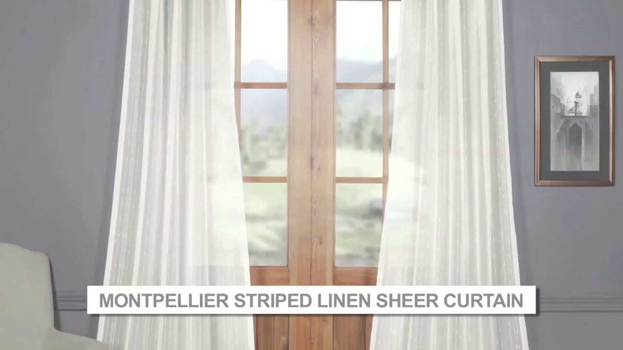 Montpellier Striped Faux Linen Sheer Curtain Throughout Montpellier Striped Linen Sheer Curtains (View 6 of 20)