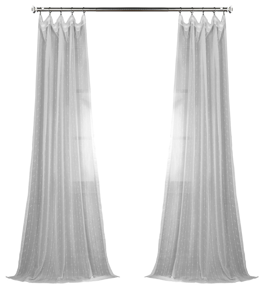 """Montpellier Striped Fauxlinen Sheer Curtain Single Panel, 50""""x96"""" With Montpellier Striped Linen Sheer Curtains (View 4 of 20)"""