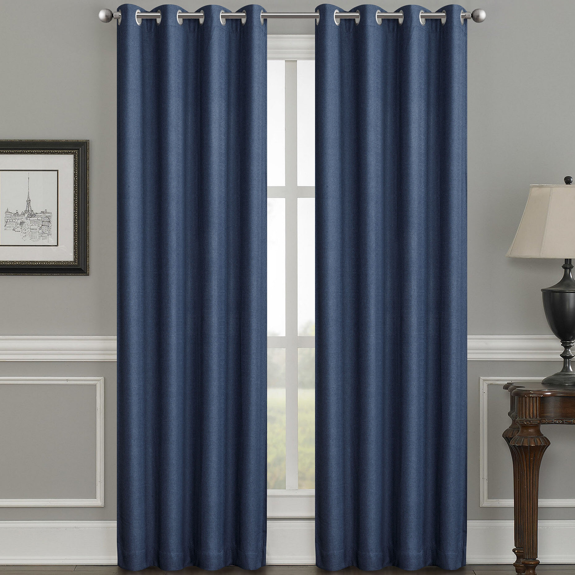 Moravian Weave Solid Room Darkening Thermal Grommet Single Curtain Panel In Jacob Tab Top Single Curtain Panels (View 16 of 20)