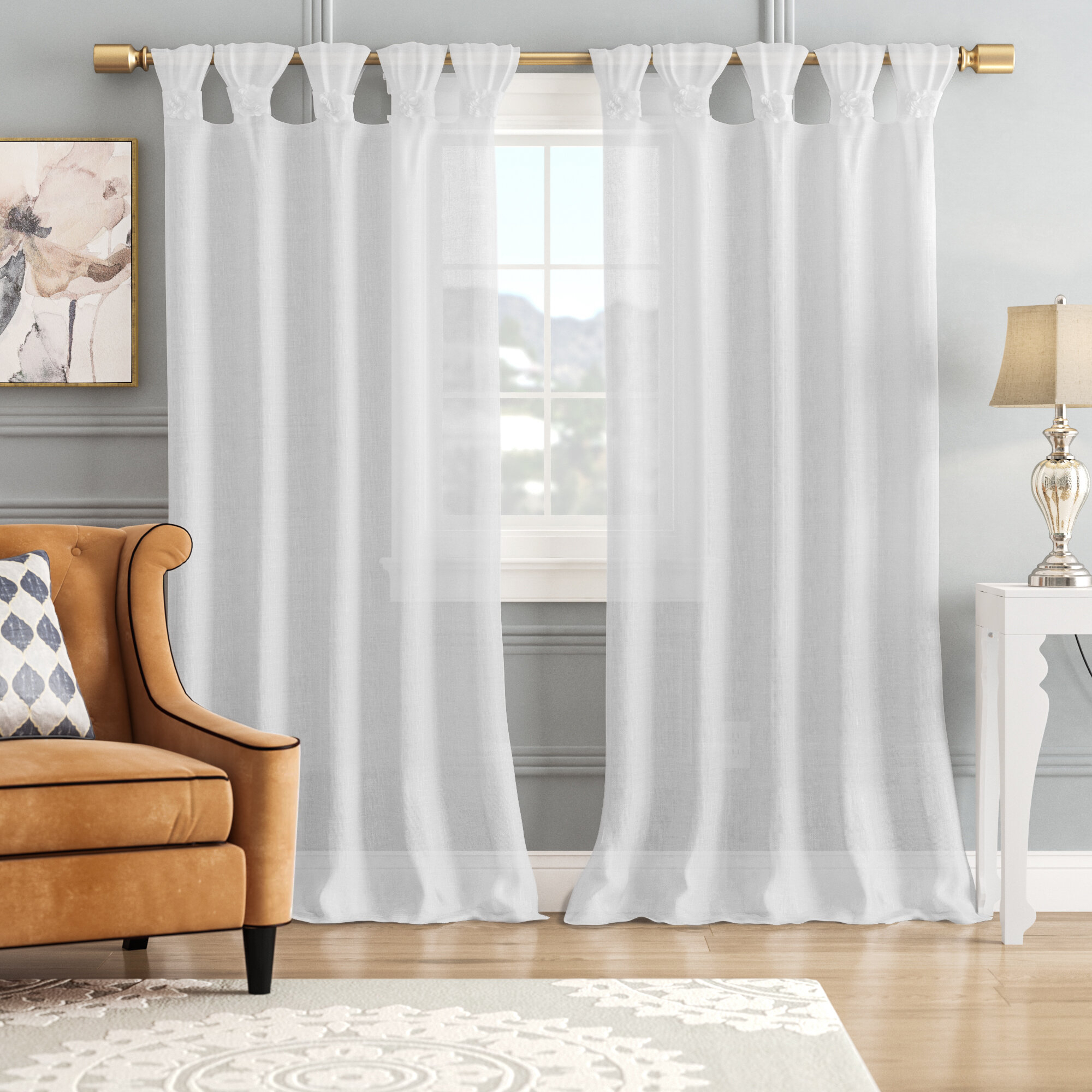 Mysliwiec Floral Twist Solid Semi Sheer Tab Top Single Curtain Panel Throughout Tab Top Sheer Single Curtain Panels (View 4 of 30)