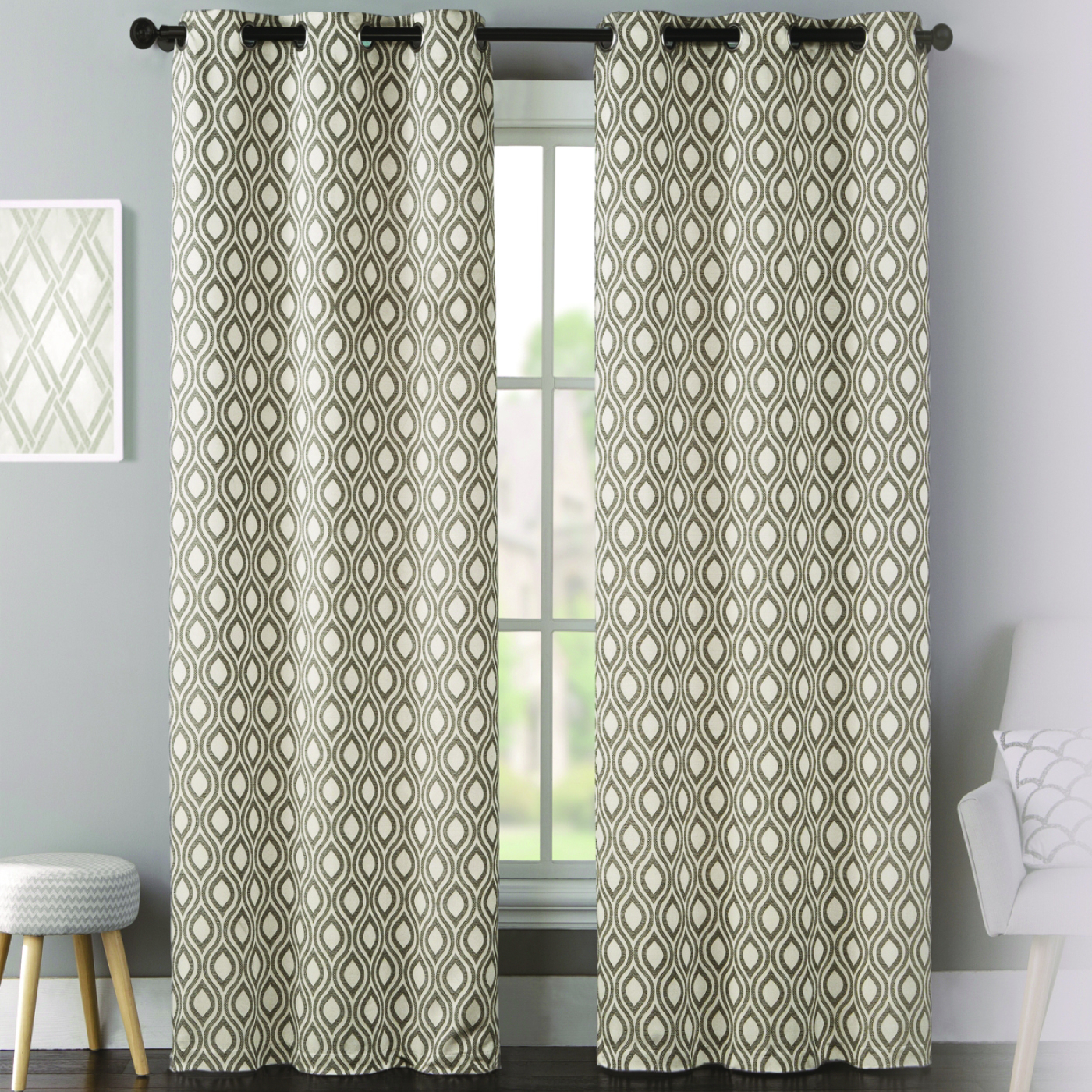 Mystique Lattice Grommet Curtain Panel Pair Pertaining To Intersect Grommet Woven Print Window Curtain Panels (View 7 of 20)