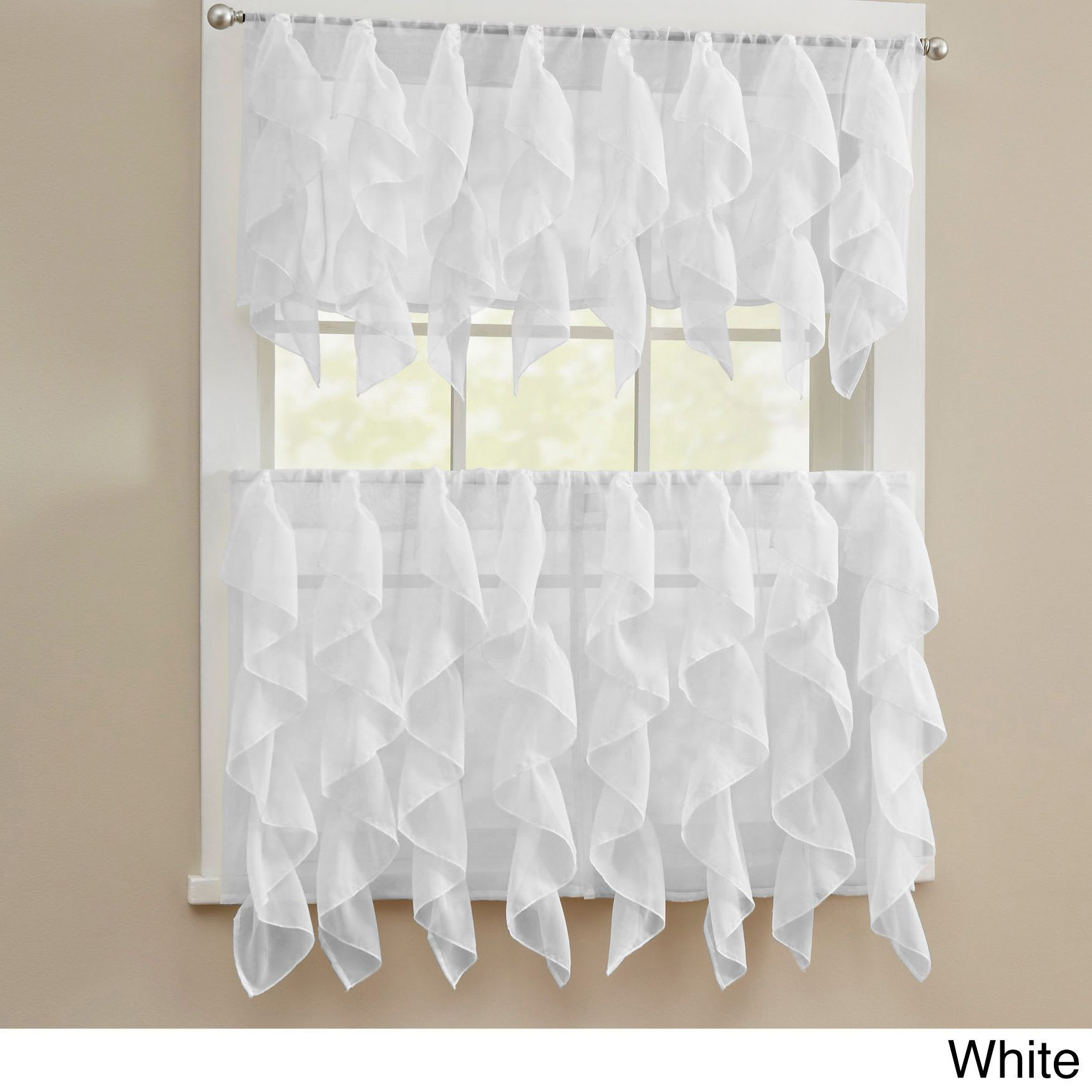 N Chic Sheer Voile Vertical Ruffled Tier Window Curtain Within Sheer Voile Ruffled Tier Window Curtain Panels (View 14 of 20)