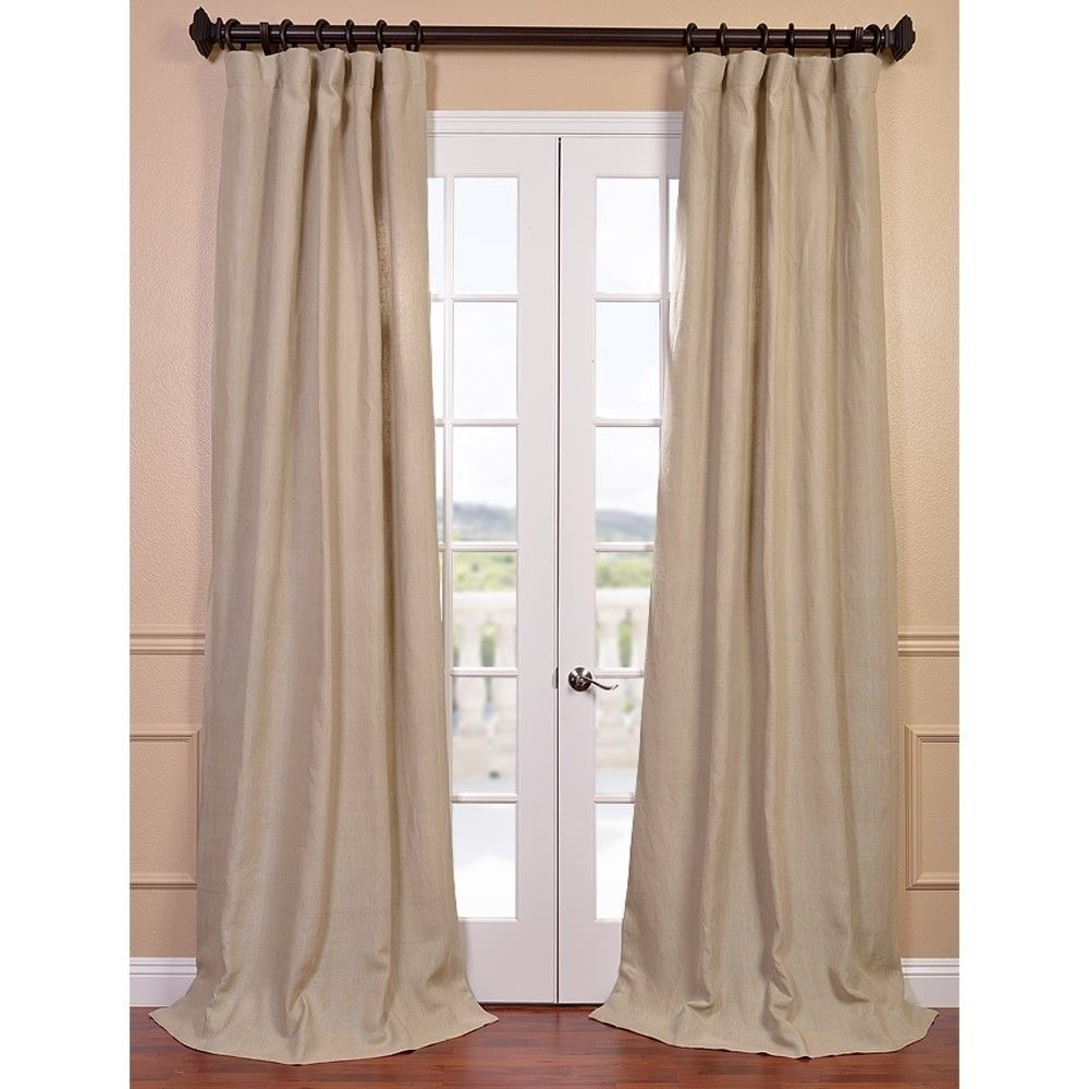 Natural French Linen Lined Curtain Panel – Overstock Within Signature French Linen Curtain Panels (View 26 of 30)
