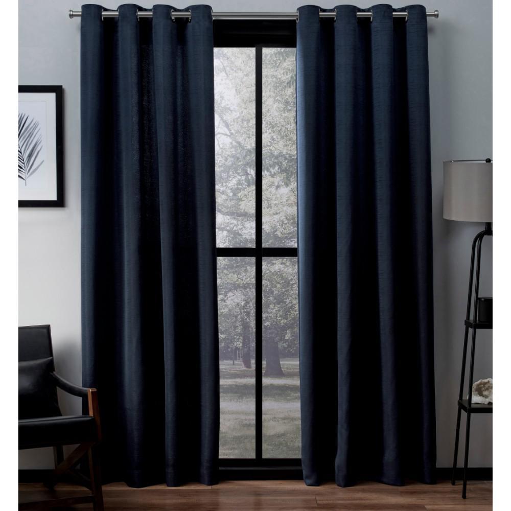 Navy Blue 54x63 2 Piece Exclusive Home Velvet Grommet Top Intended For Velvet Heavyweight Grommet Top Curtain Panel Pairs (View 7 of 30)