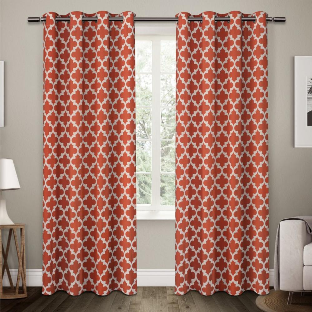 Neptune Mecca Orange Cotton Grommet Top Window Curtain Inside Mecca Printed Cotton Single Curtain Panels (View 11 of 20)