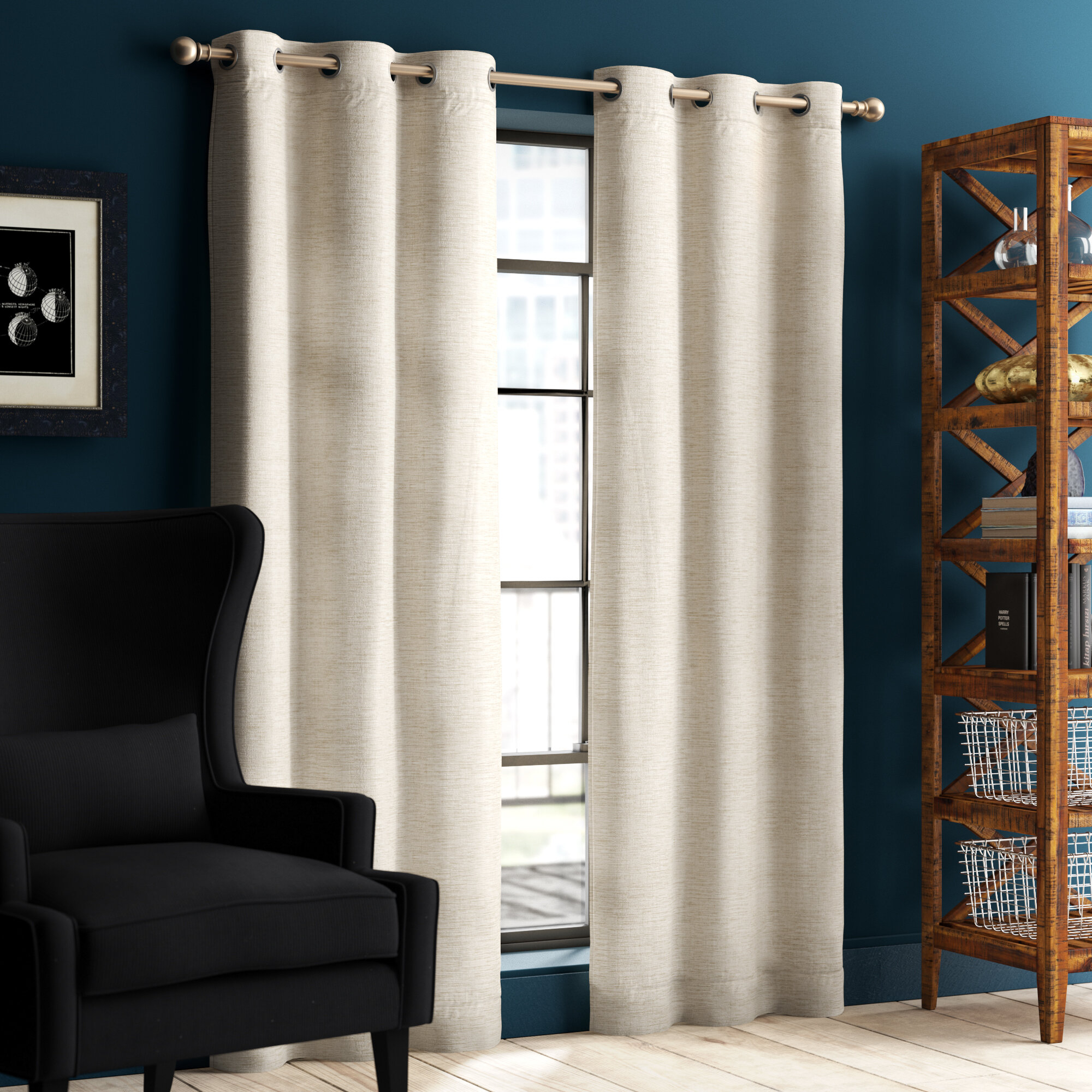 New London Linen Look Solid Blackout Thermal Grommet Curtain Panels With Regard To London Blackout Panel Pair (View 4 of 20)