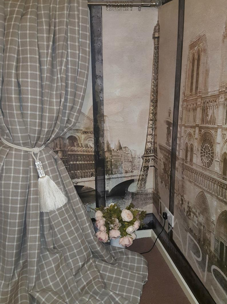 "New! Made To Order Huge Natural Ivory French Checked Tartan 100%irish Linen Each Curtain Panel 110""drop 55""width Lined Long Bay Curtains Intended For French Linen Lined Curtain Panels (View 17 of 20)"