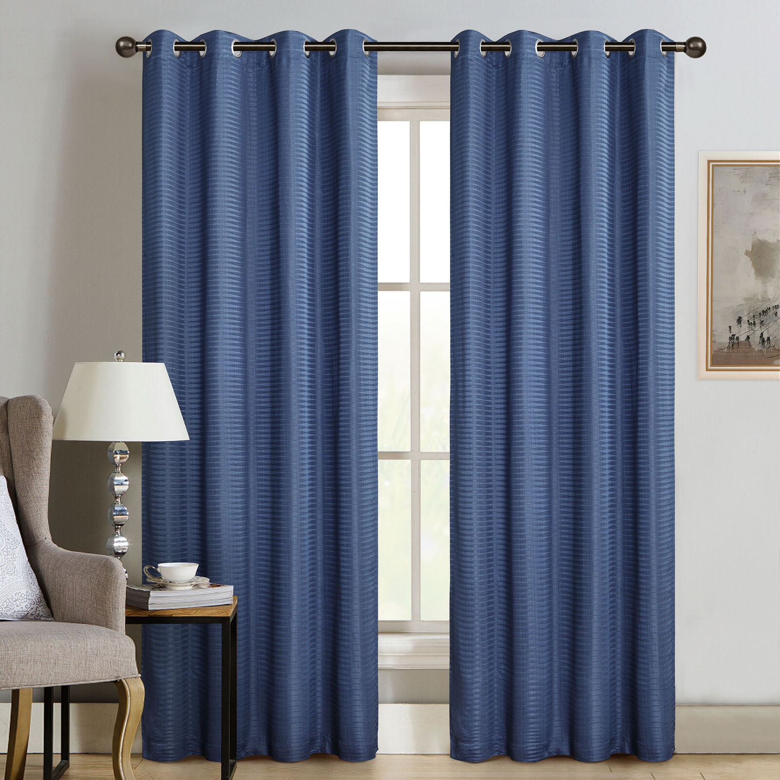 Newport Wave 84 Inch Light Filtering Grommet Top Window Curtain Panel In Blue For Eclipse Newport Blackout Curtain Panels (View 16 of 20)