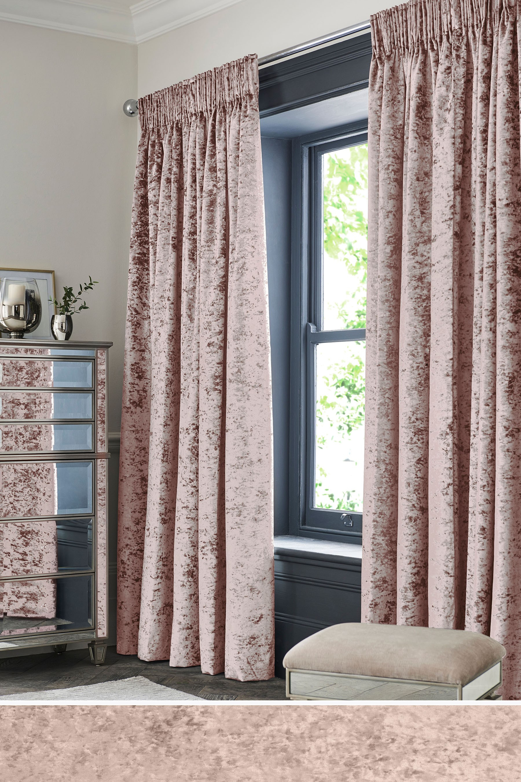 Next Crushed Velvet Pencil Pleat Lined Curtains – Pink In Inside Velvet Dream Silver Curtain Panel Pairs (View 17 of 31)