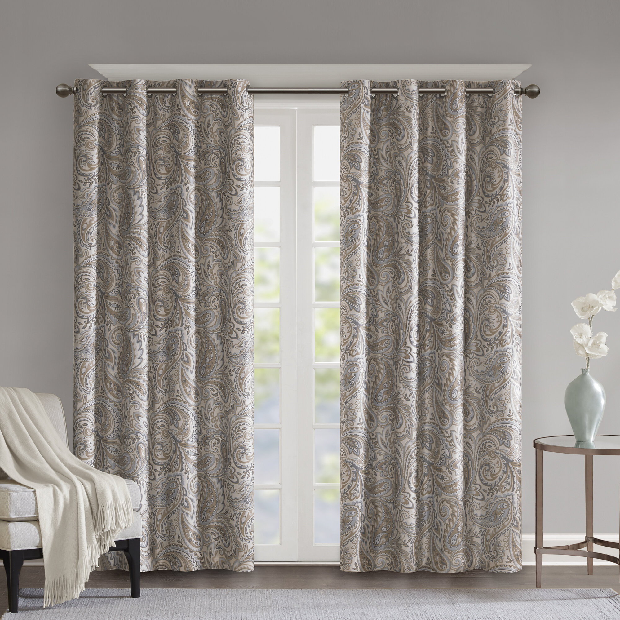 Nicci Paisley Max Blackout Thermal Grommet Single Curtain Panel Intended For Twisted Tab Lined Single Curtain Panels (View 19 of 30)