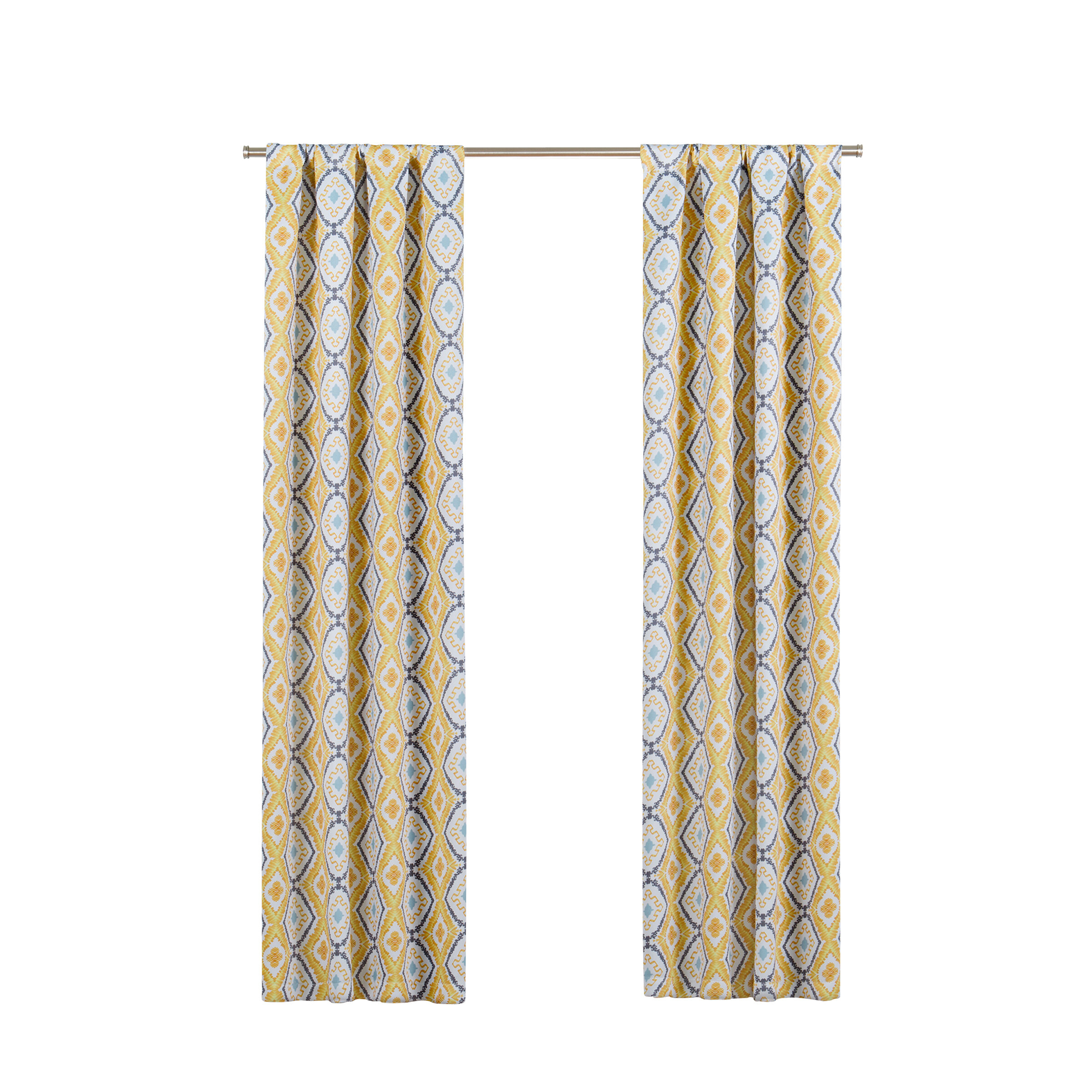 Nicholls Geometric Blackout Thermal Rod Pocket Single Curtain Panel Throughout Geometric Print Textured Thermal Insulated Grommet Curtain Panels (View 14 of 20)