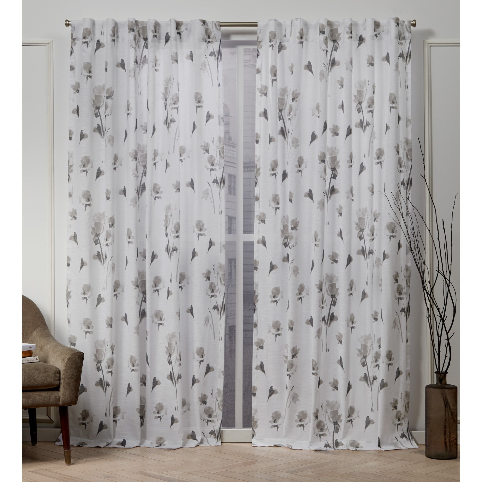 Nicole Miller La Petite Fleur Hidden Tab Top Panel Pair Throughout Tuscan Thermal Backed Blackout Curtain Panel Pairs (View 15 of 30)