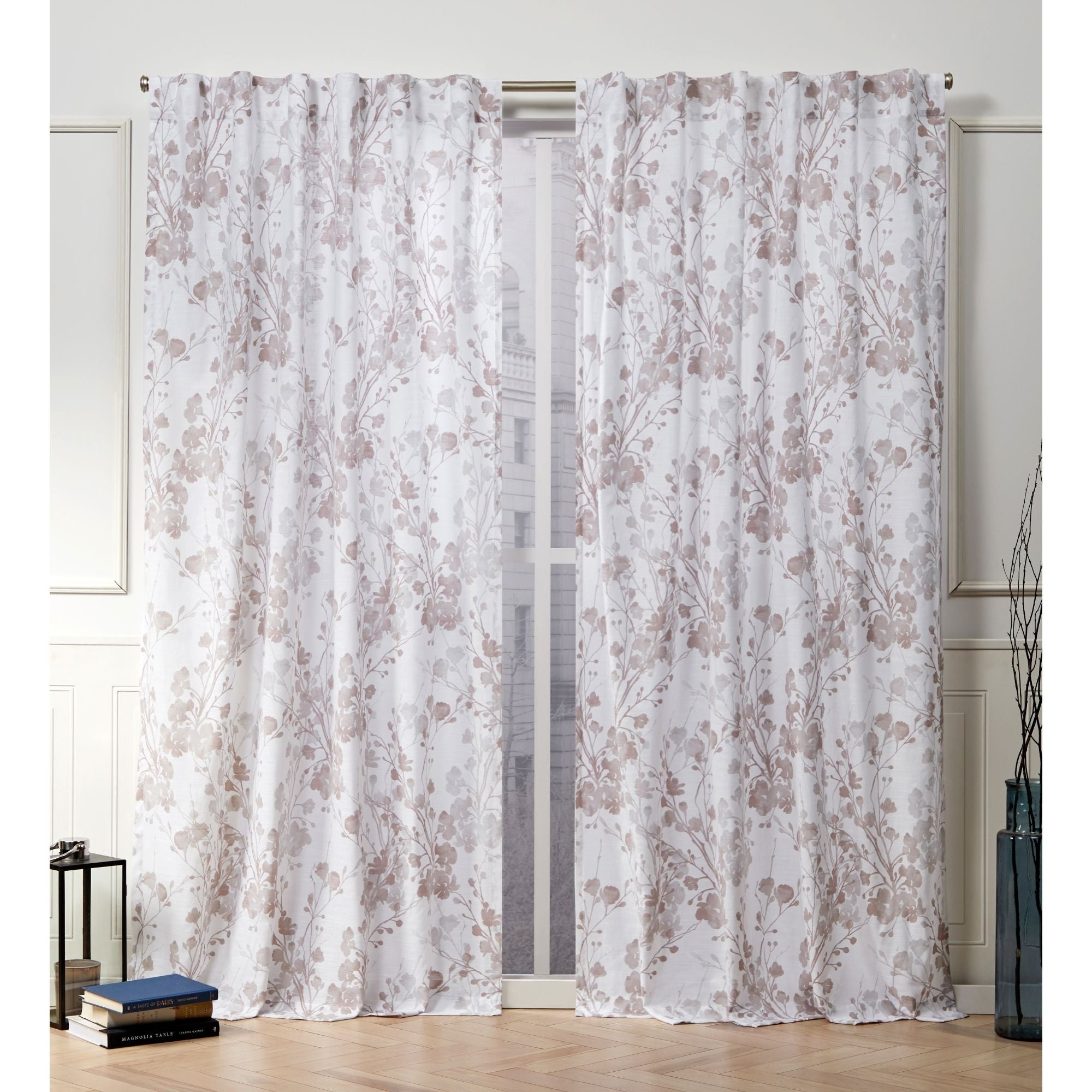 Nicole Miller Lillian Floral Cotton Hidden Tab Top Panel Pair Regarding Andorra Watercolor Floral Textured Sheer Single Curtain Panels (Image 9 of 20)