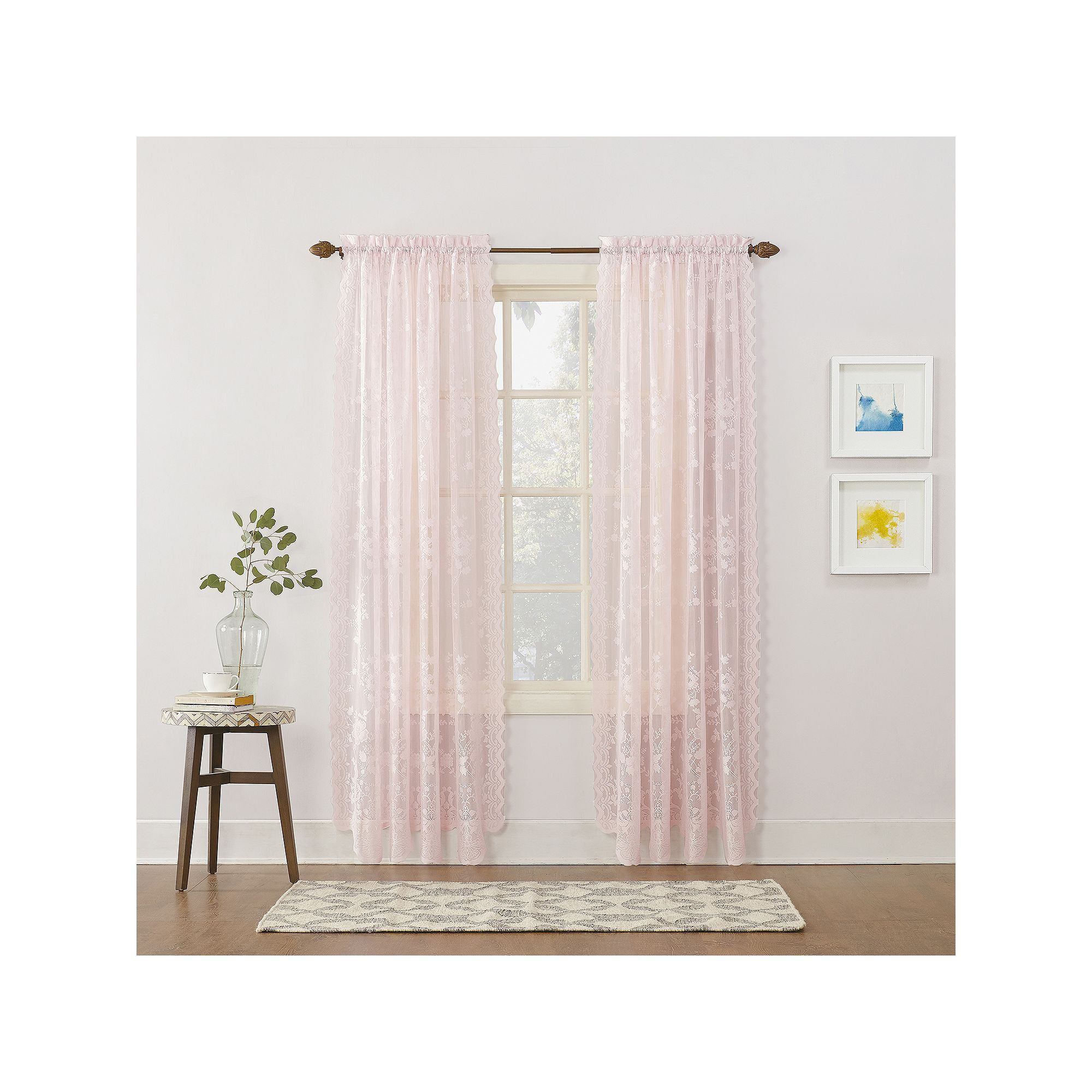 No 918 1 Panel Alison Floral Lace Sheer Window Curtain Throughout Alison Rod Pocket Lace Window Curtain Panels (Image 11 of 20)