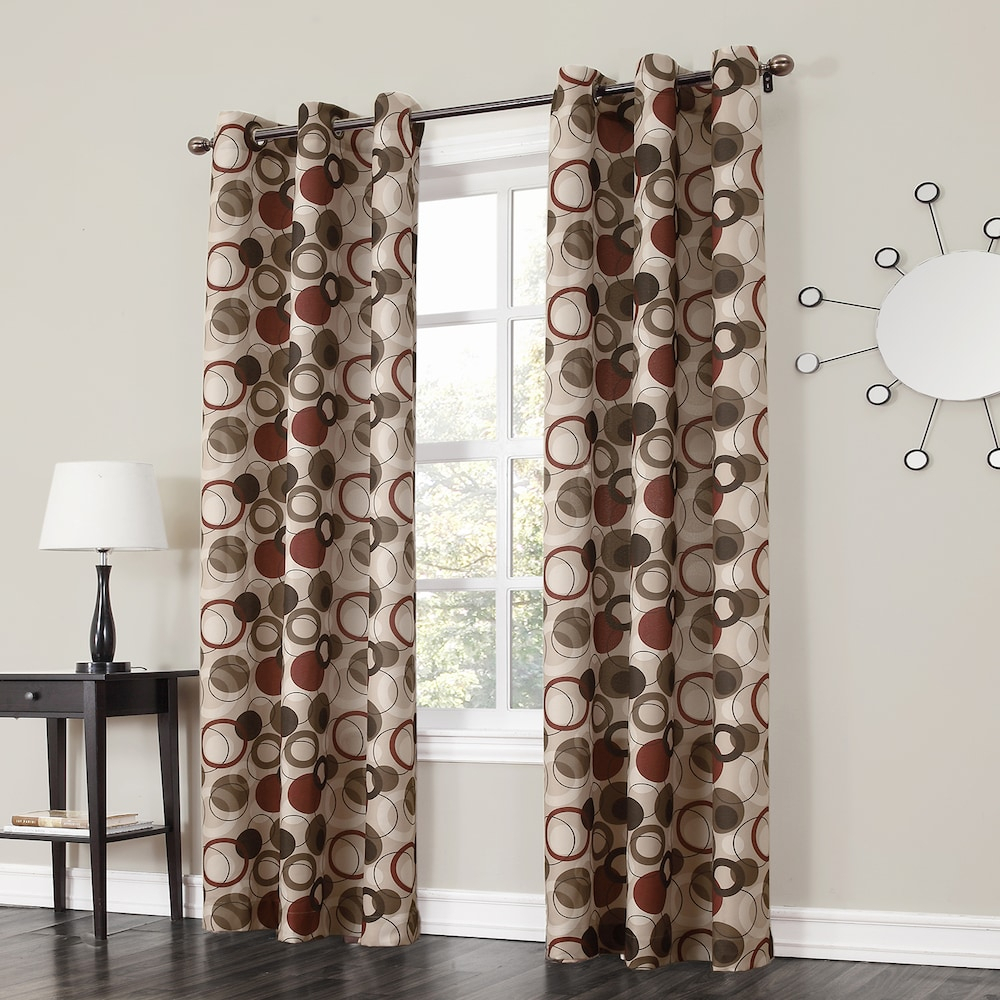 No 918 1 Panel Jenise Window Curtain, Red, 48X63 In 2019 Regarding Intersect Grommet Woven Print Window Curtain Panels (View 8 of 20)