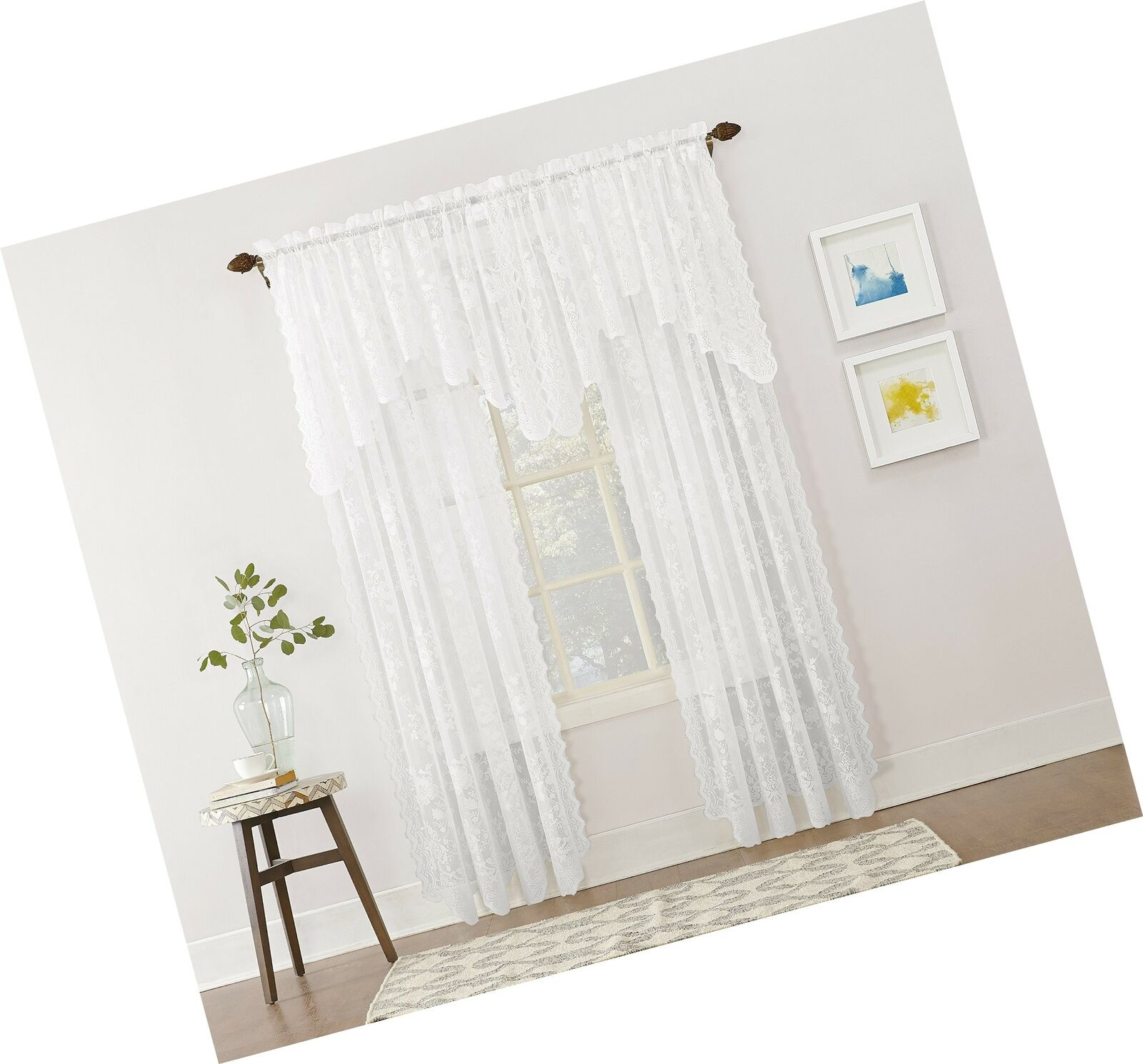 No 918 Alison Floral Lace Sheer Rod Pocket Curtain Panel 58 X White In Alison Rod Pocket Lace Window Curtain Panels (Image 12 of 20)