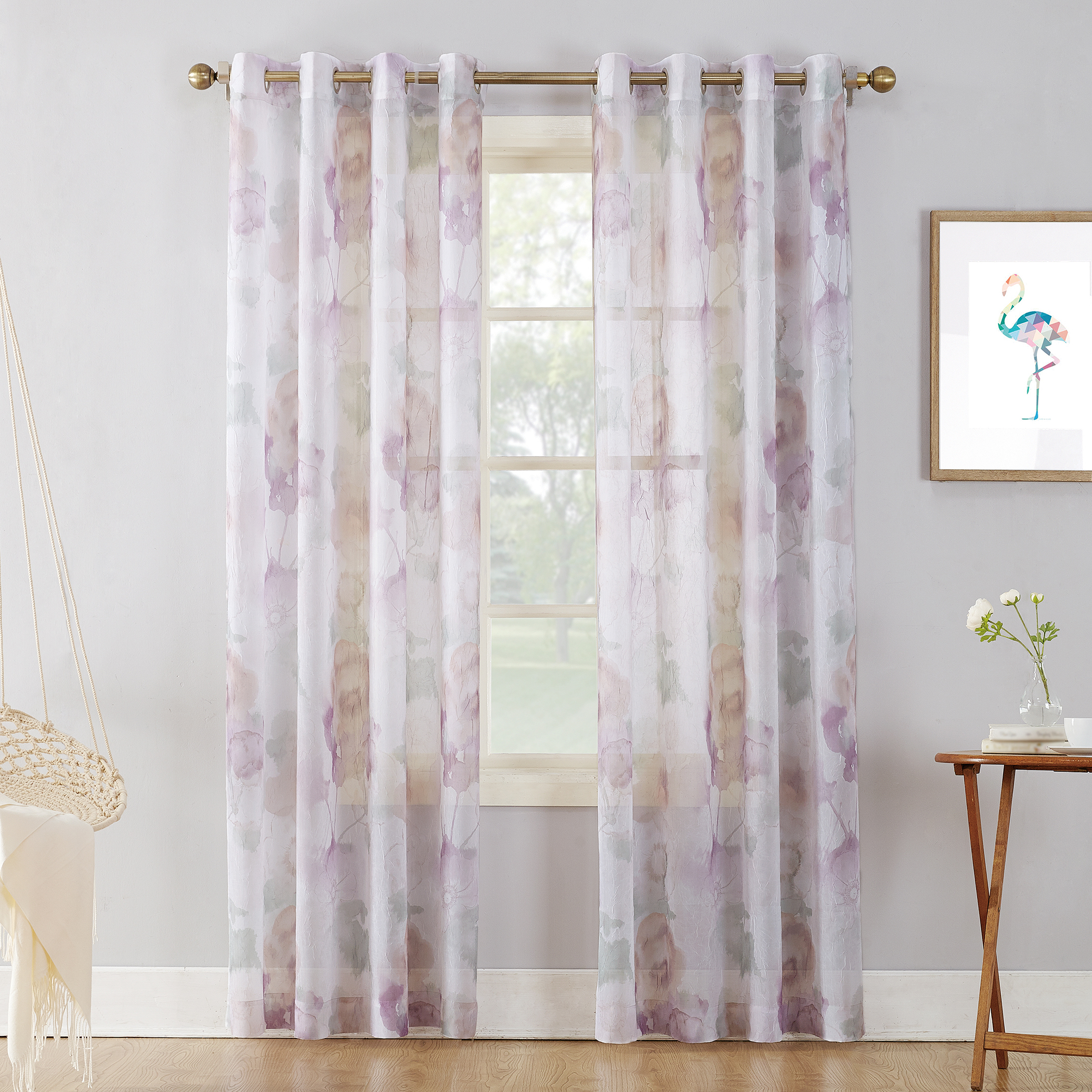Featured Photo of Andorra Watercolor Floral Textured Sheer Single Curtain Panels