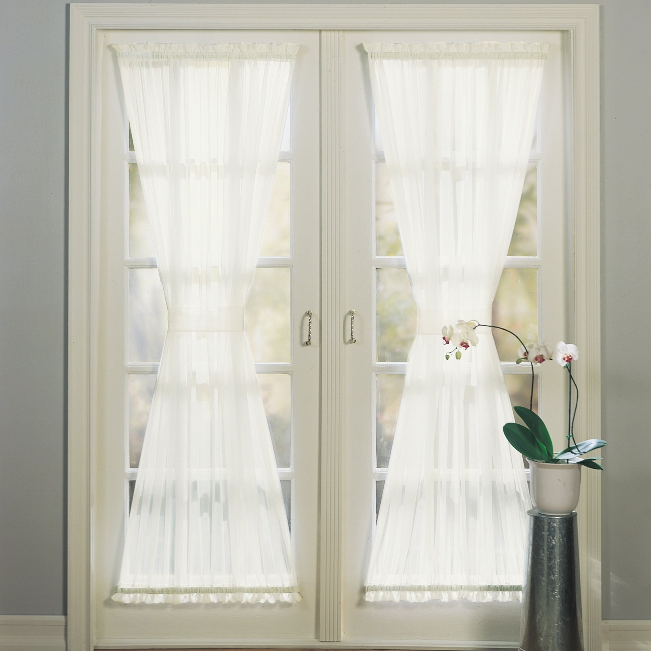 Featured Photo of Emily Sheer Voile Solid Single Patio Door Curtain Panels