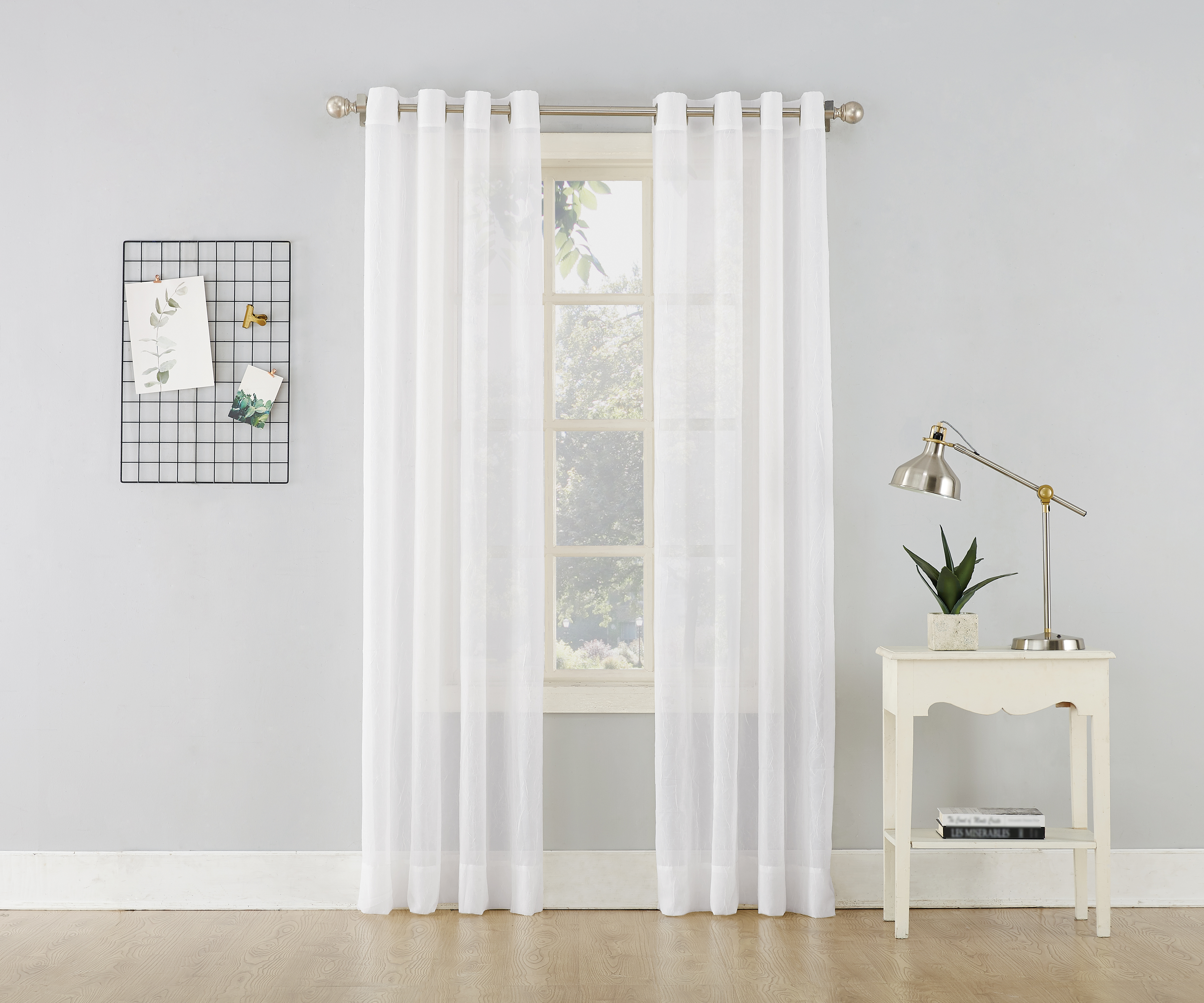 Featured Photo of Erica Crushed Sheer Voile Grommet Curtain Panels