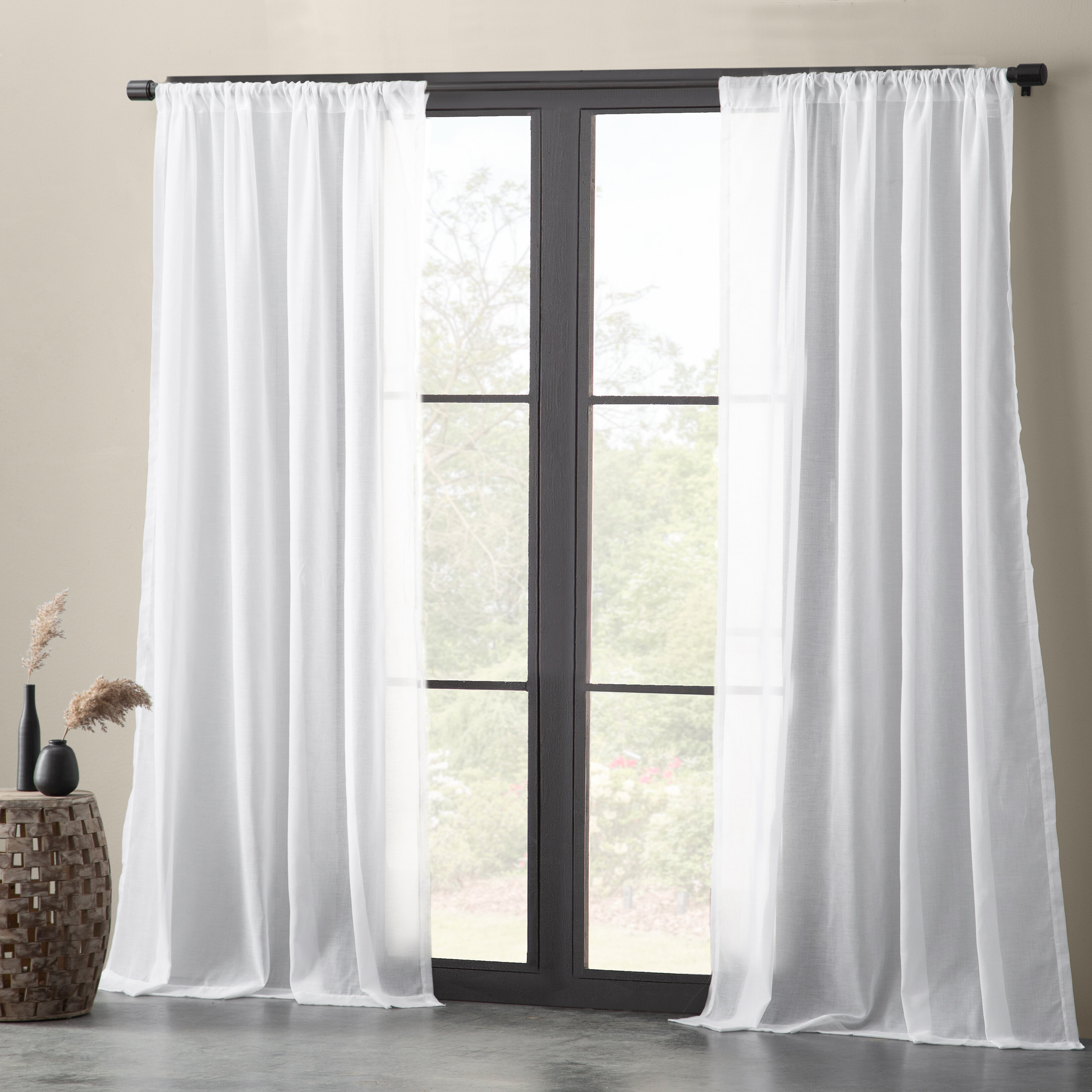 Nolan Cotton Blend Textured Weave Solid Sheer Rod Pocket Single Curtain Panel Pertaining To Solid Cotton Curtain Panels (View 27 of 30)