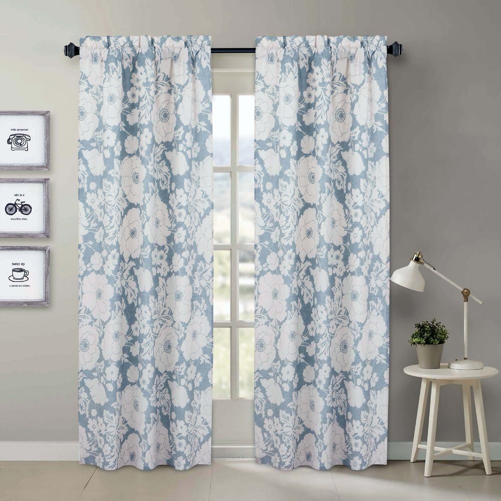 Nouvelle Home Chambray Blue And White Floral Window Pair Panels - 84 In. L  X 40 In. W for Floral Pattern Room Darkening Window Curtain Panel Pairs (Image 16 of 20)