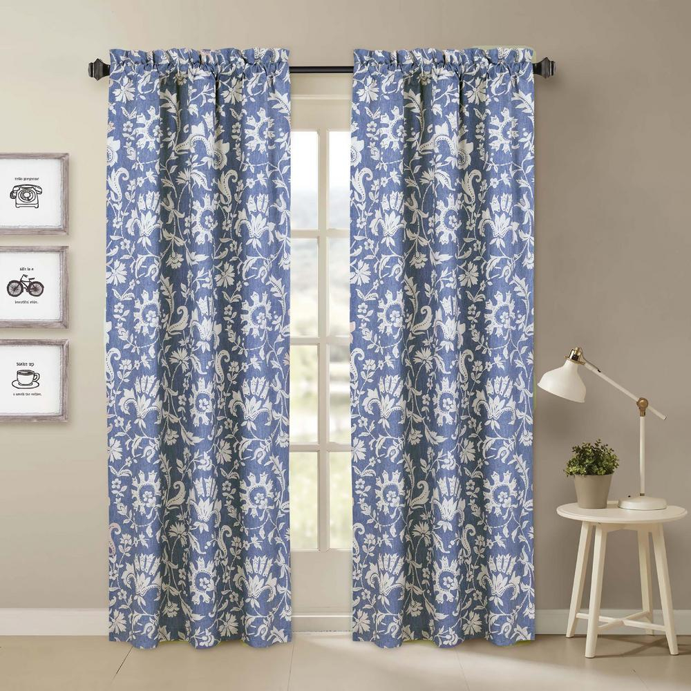 Nouvelle Home Porcelain Blue And White Window Pair Panels - 84 In. L X 40  In. W pertaining to Floral Pattern Room Darkening Window Curtain Panel Pairs (Image 17 of 20)